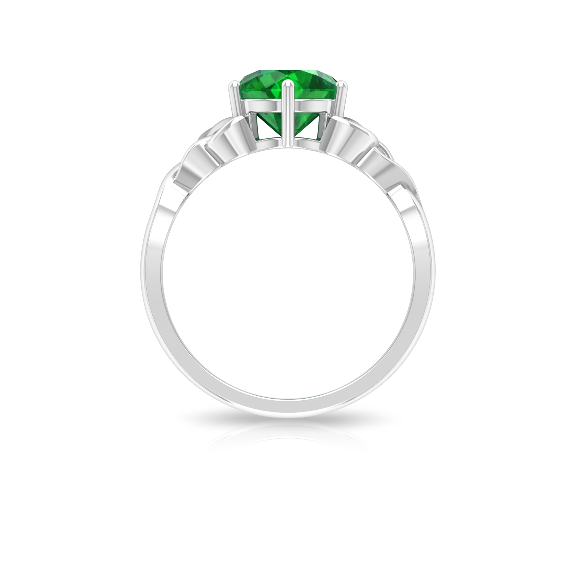 May Birthstone 8 MM Emerald Solitaire Ring in 6 Prong Setting with Celtic Pattern