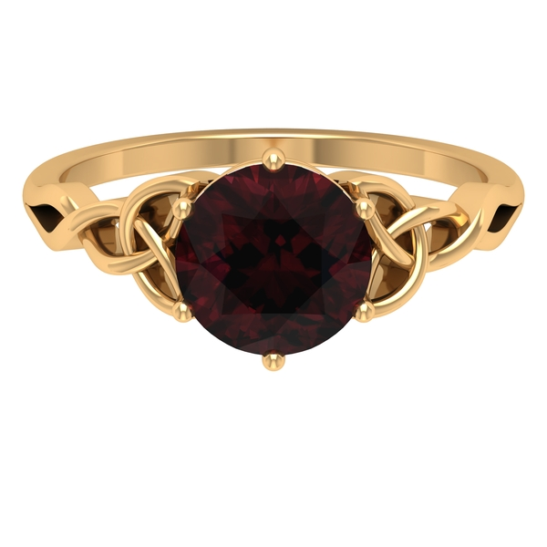 1.75 CT Solitaire Garnet Celtic Engagement Ring in 6 Prong Setting
