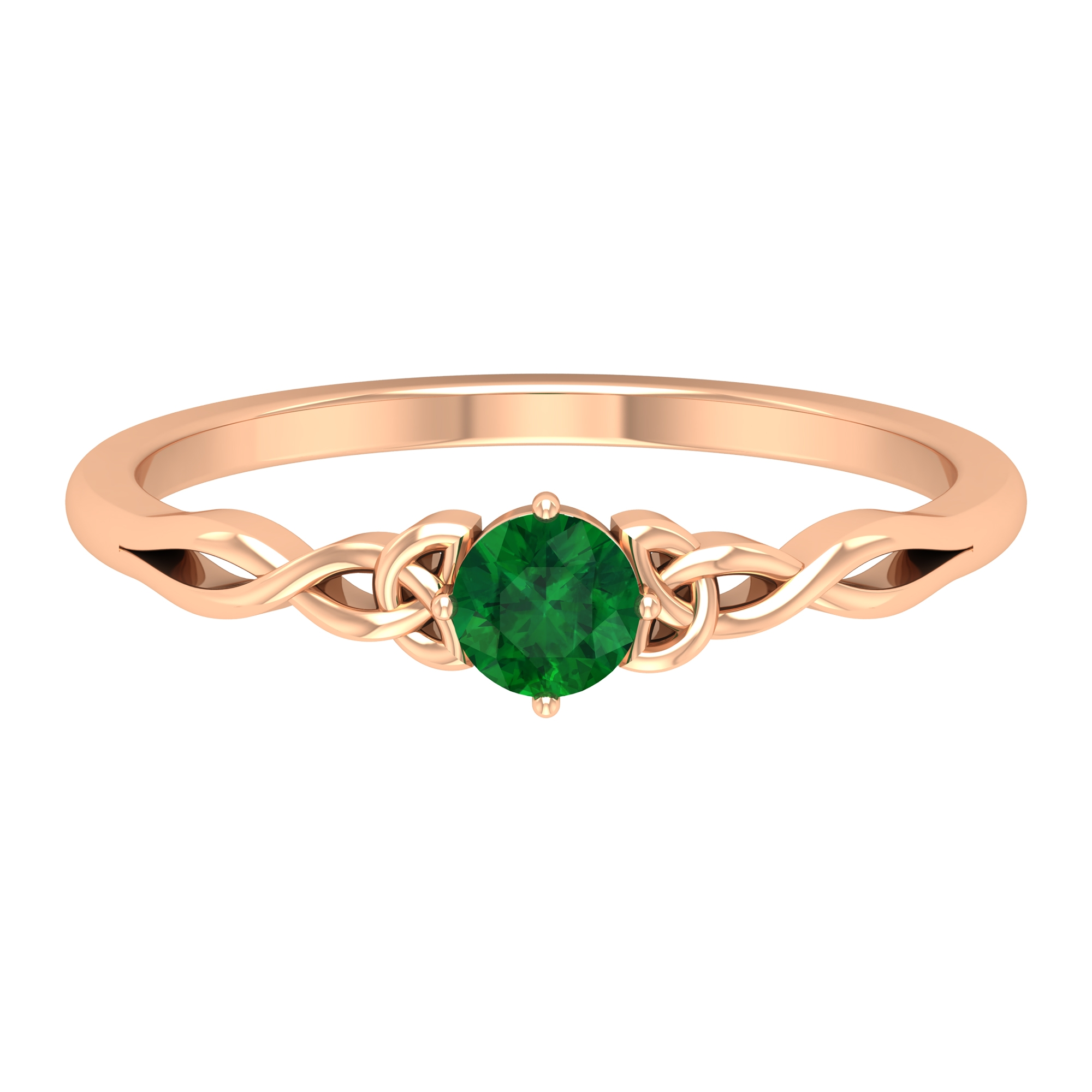 May Birthstone 4 MM Emerald Solitaire Ring in 4 Prong Setting with Celtic Pattern