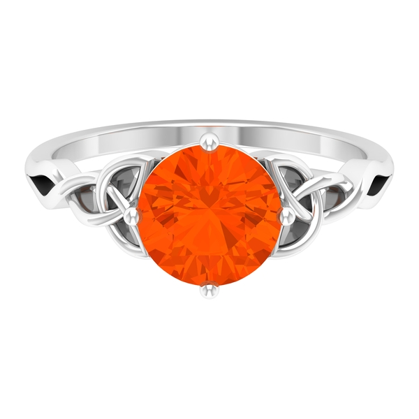 3/4 CT Solitaire Fire Opal Celtic Engagement Ring in 4 Prong Diagonal Setting
