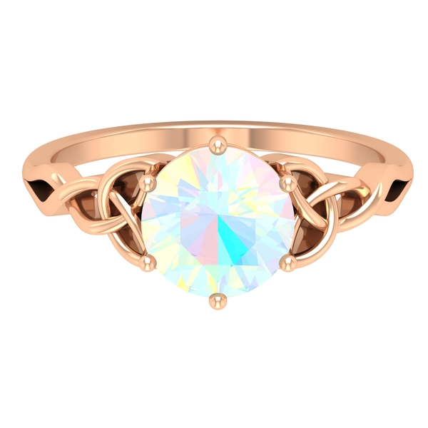 3/4 CT Solitaire Ethiopian Opal Celtic Engagement Ring in 6 Prong Setting