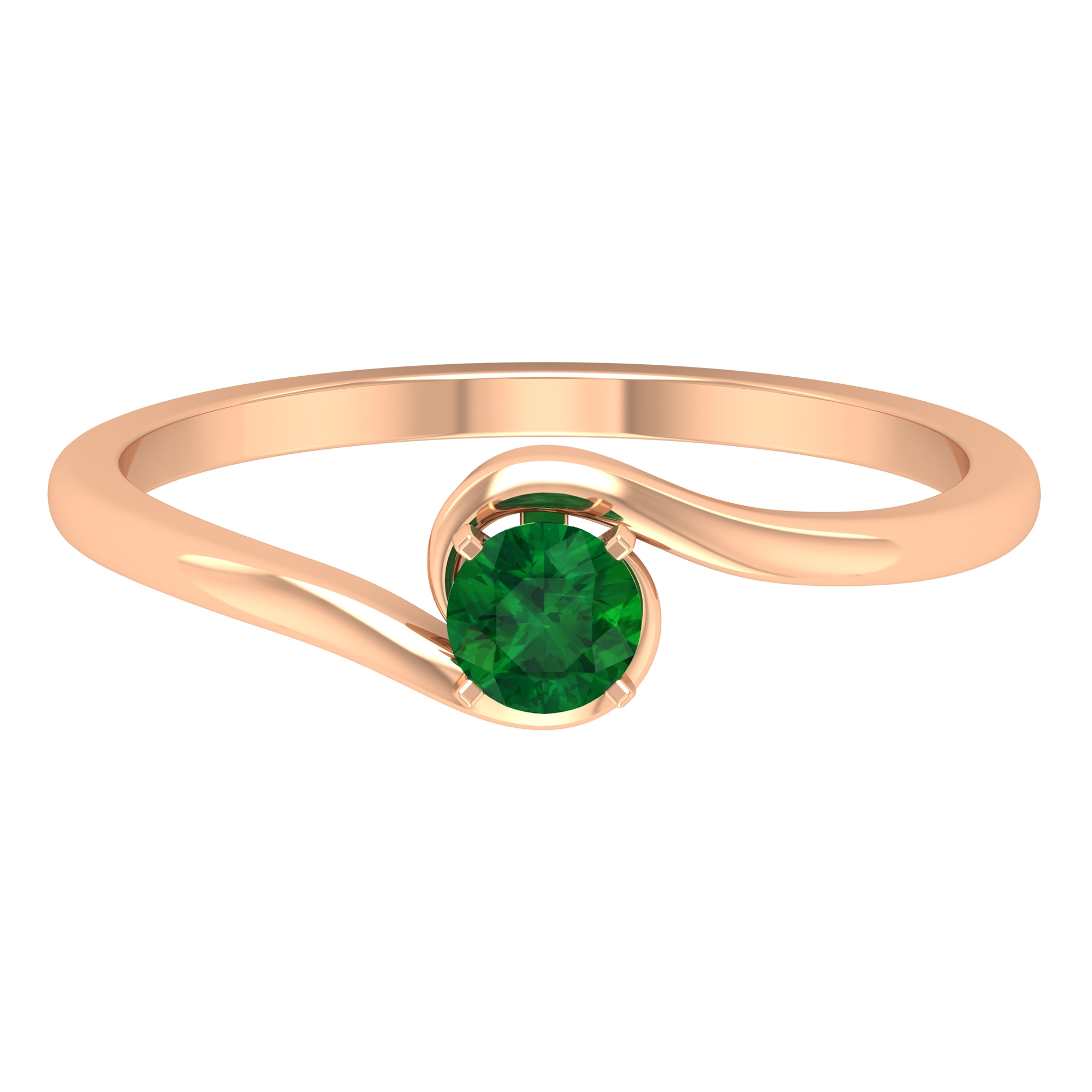 May Birthstone 4 MM Emerald Solitaire Ring in Square Prong Setting with Bypass Shank