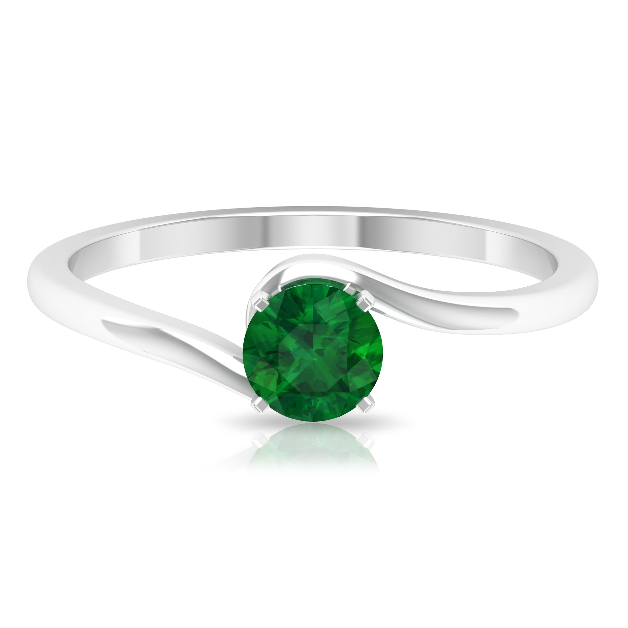May Birthstone 5 MM Emerald Solitaire Ring in Square Prong Setting with Bypass Shank