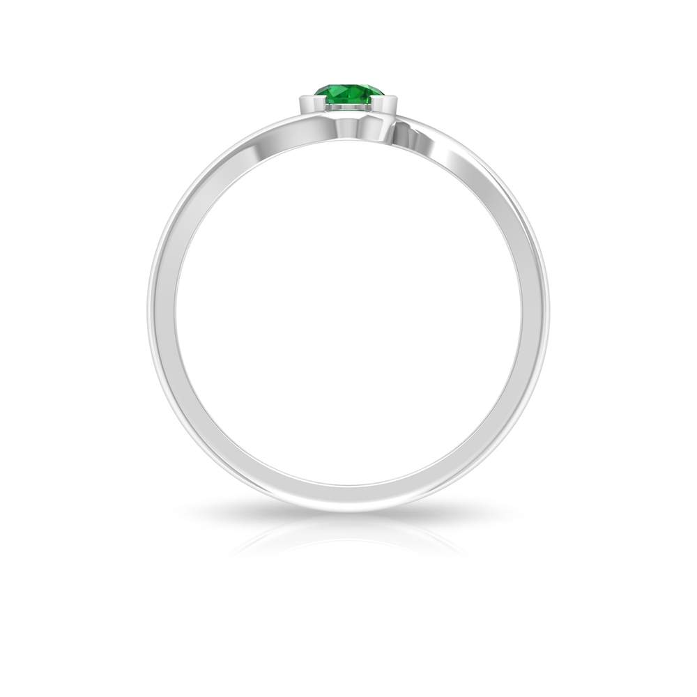 May Birthstone 4 MM Emerald Solitaire Ring in Half Bezel Setting with Bypass Shank