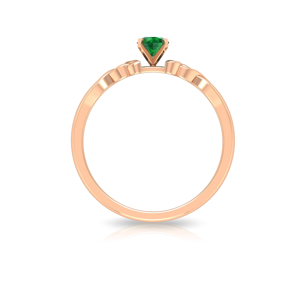 4 MM Round Shape Emerald Solitaire Ring in Square Prong Setting with Celtic Shank