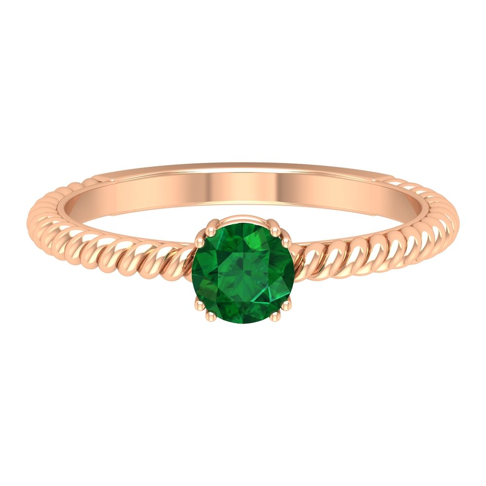 May Birthstone 5 MM Emerald Solitaire Ring in Double Prong Setting with Twisted Rope Frame