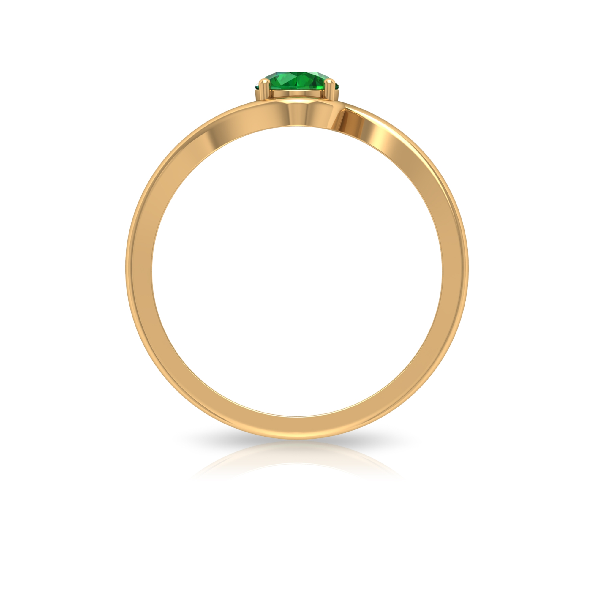 May Birthstone 5 MM Emerald Solitaire Ring in 4 Prong Setting with Bypass Shank