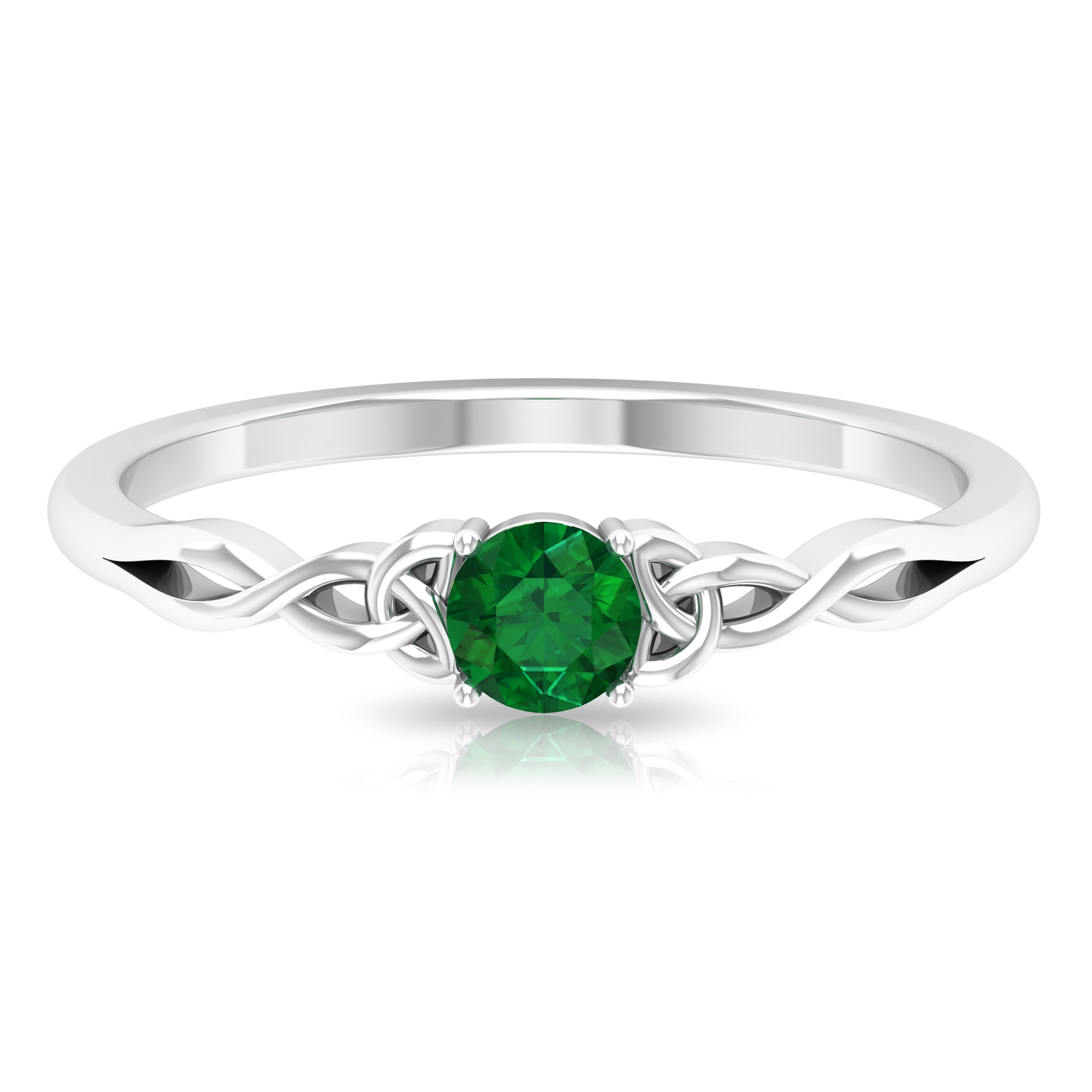 May Birthstone 4 MM Round Cut Emerald Solitaire Ring in 4 Prong Setting with Celtic Design