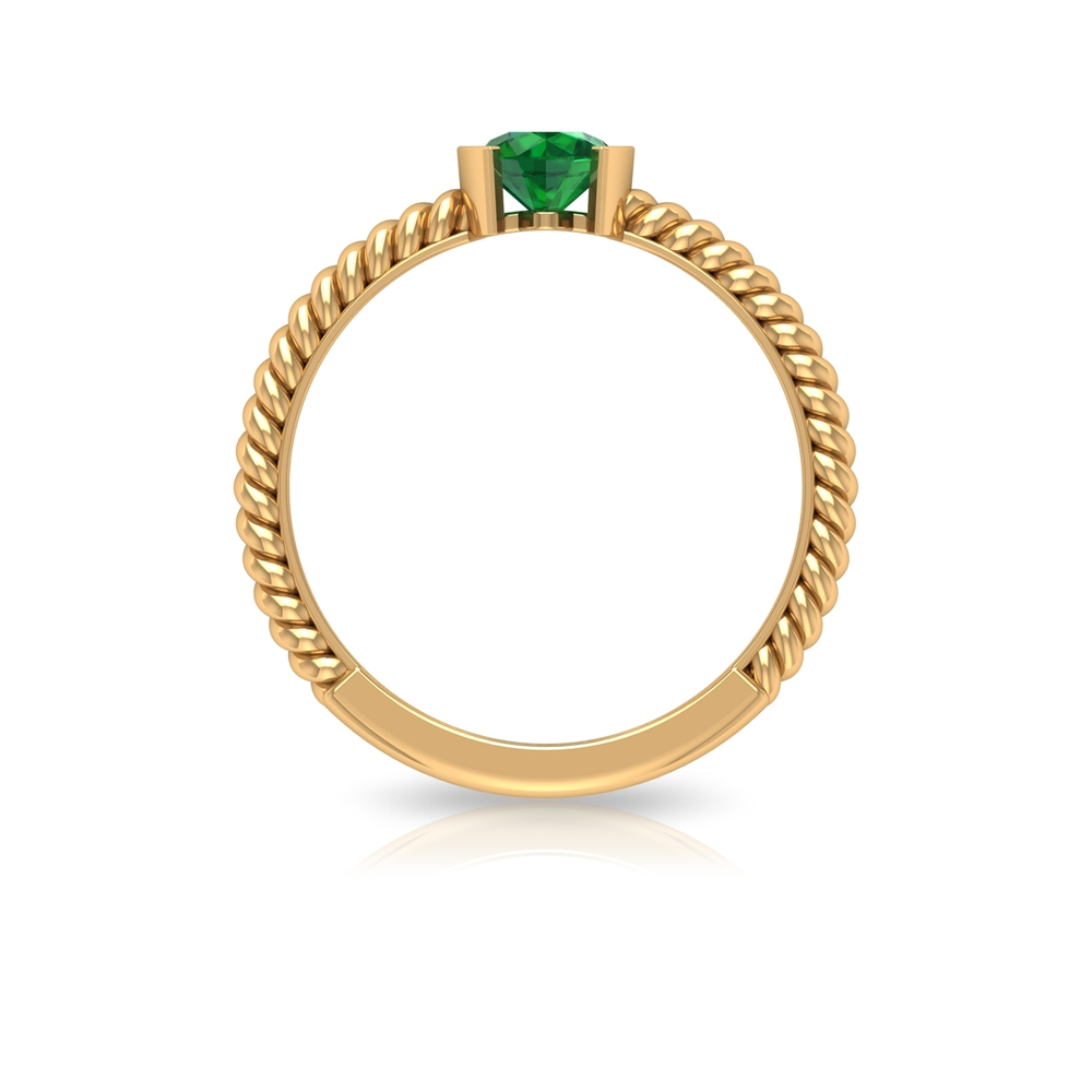 May Birthstone 5 MM Emerald Solitaire Ring in Half Bezel Setting with Twisted Rope Frame