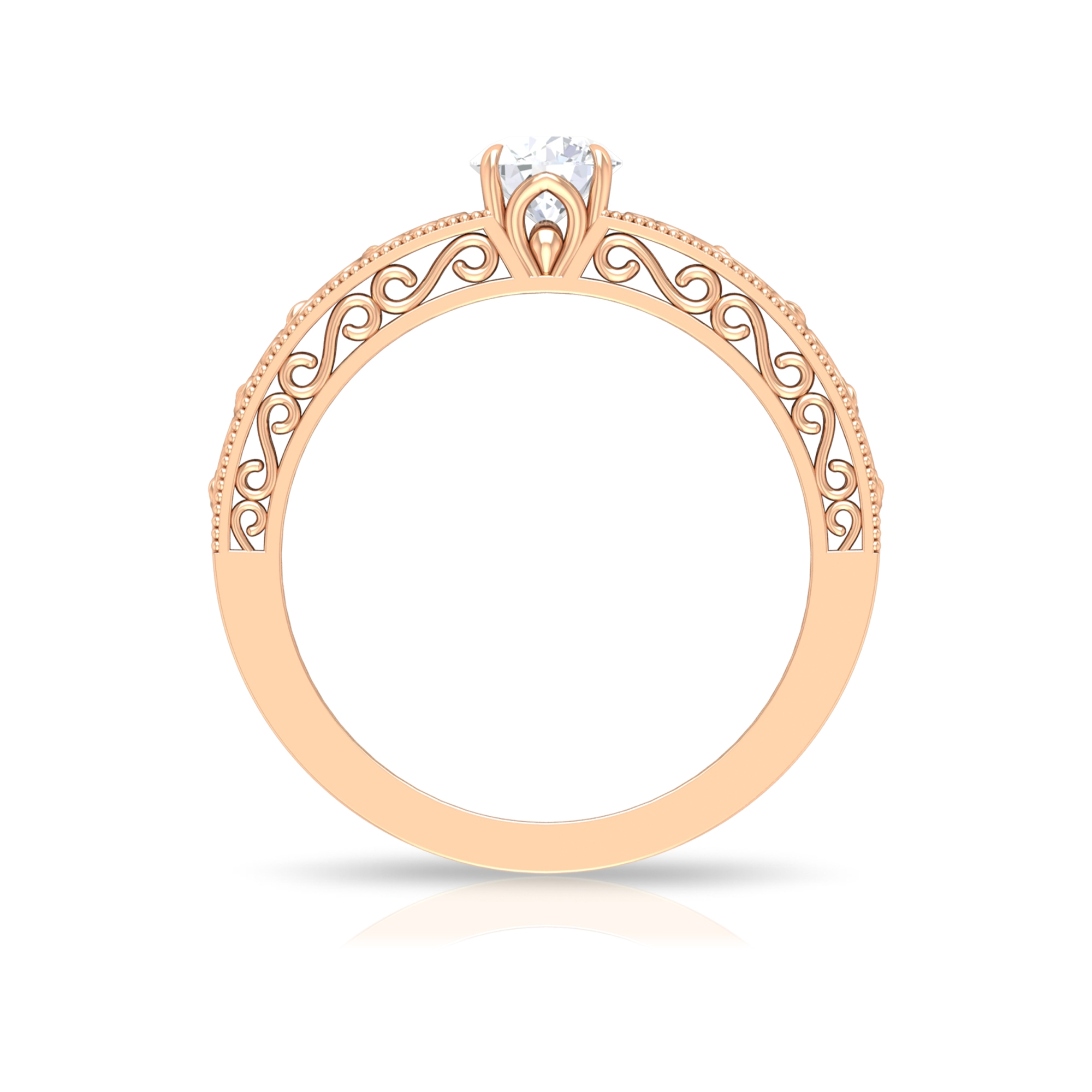 5 MM Claw Set Round Cut Solitaire Diamond Filigree Ring