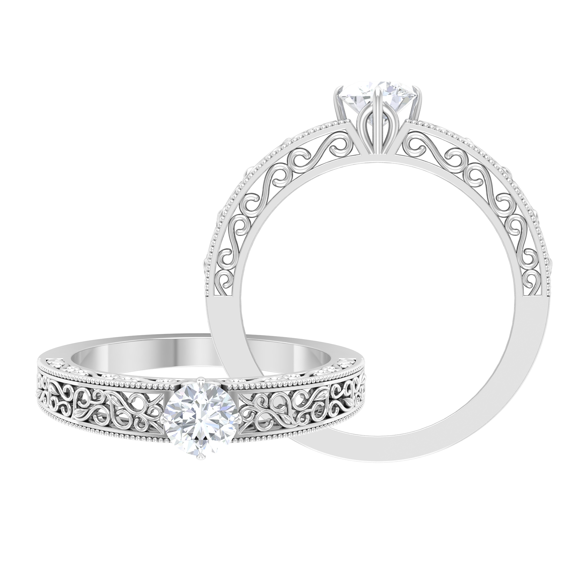 April Birthstone 5 MM Compass Claw Prong Set Round Cut Solitaire Diamond Filigree Ring