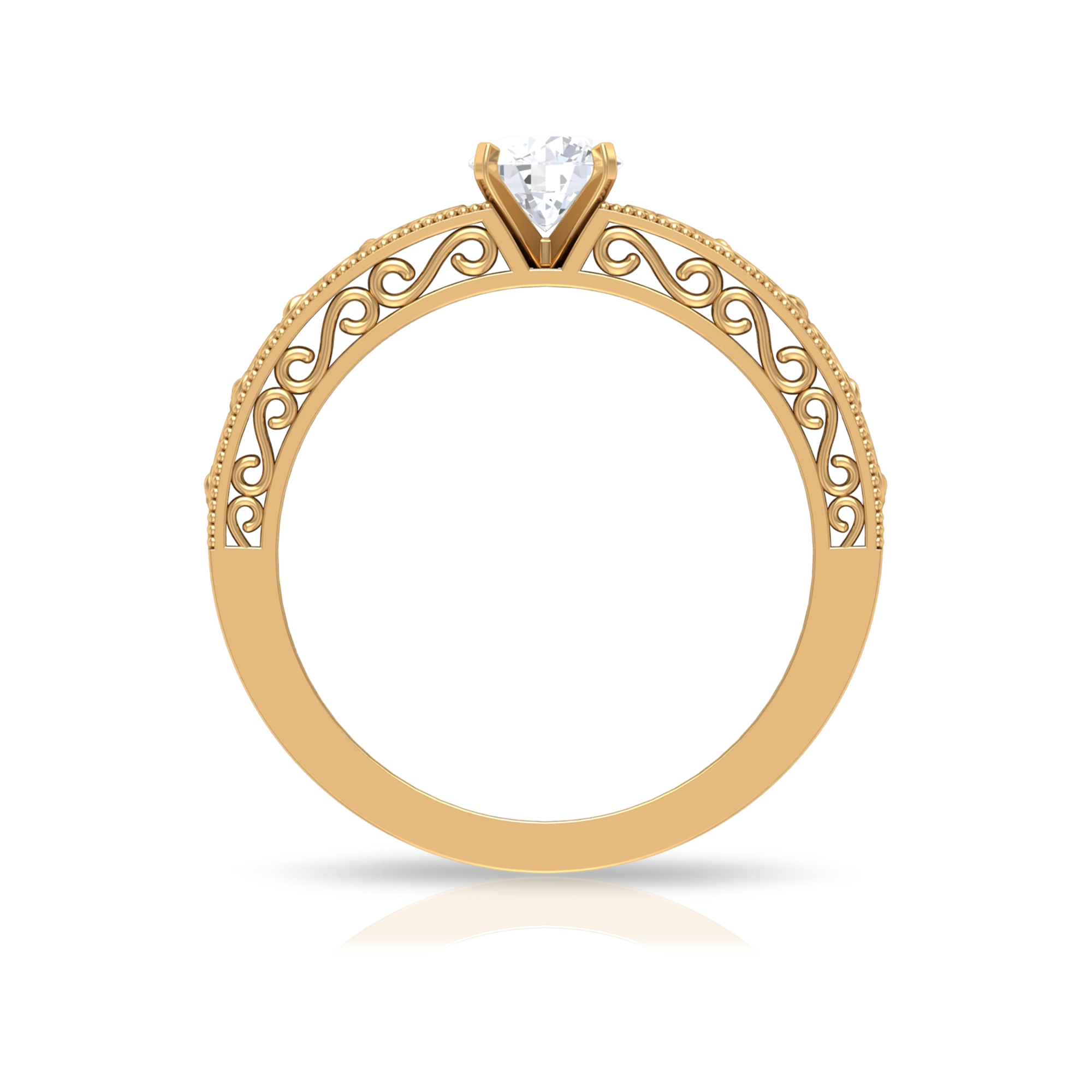 5 MM Square Prong Set Round Cut Solitaire Diamond Filigree Ring