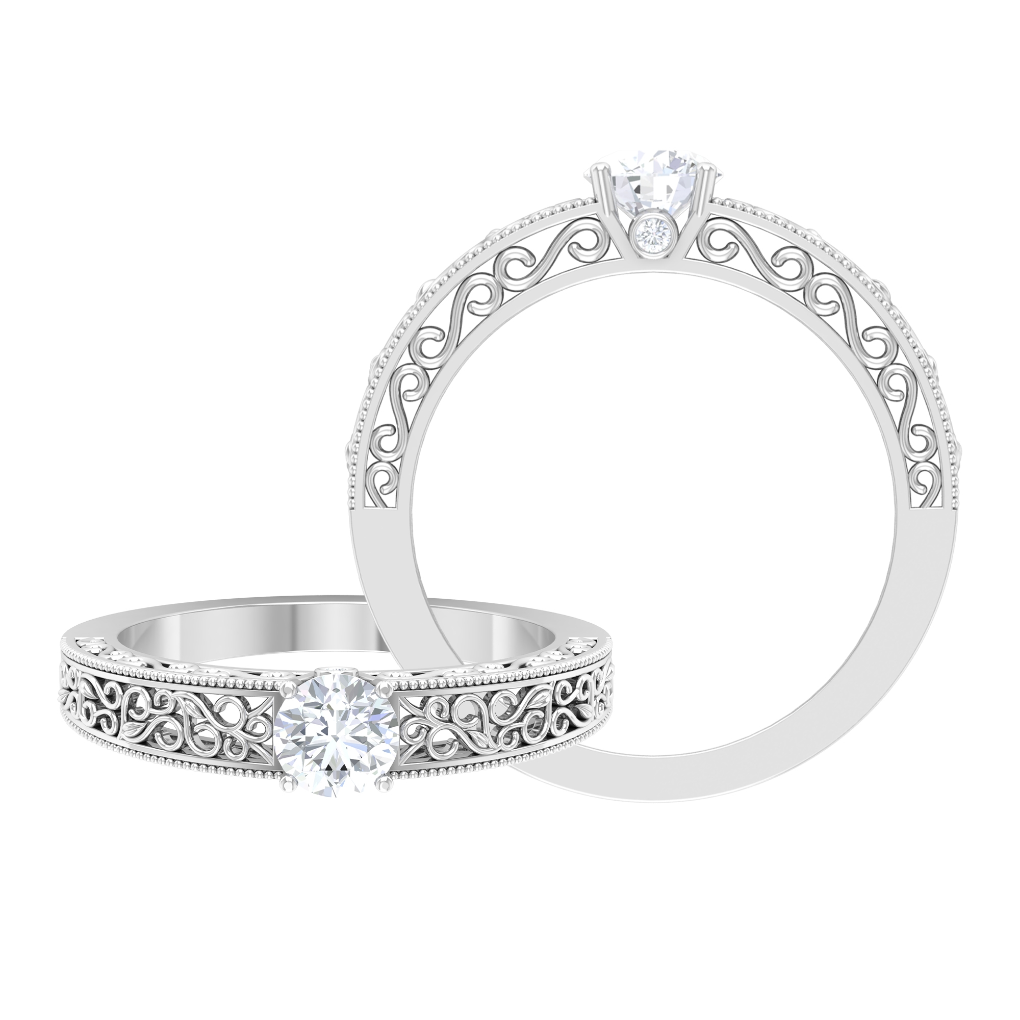 1/2 CT Prong Set Diamond Solitaire Ring with Filigree Details and Surprise Style