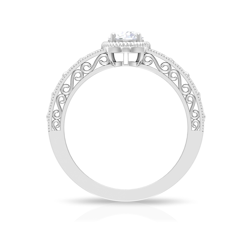 5 MM Prong Set Rope Frame Round Shape Solitaire Diamond Filigree Ring