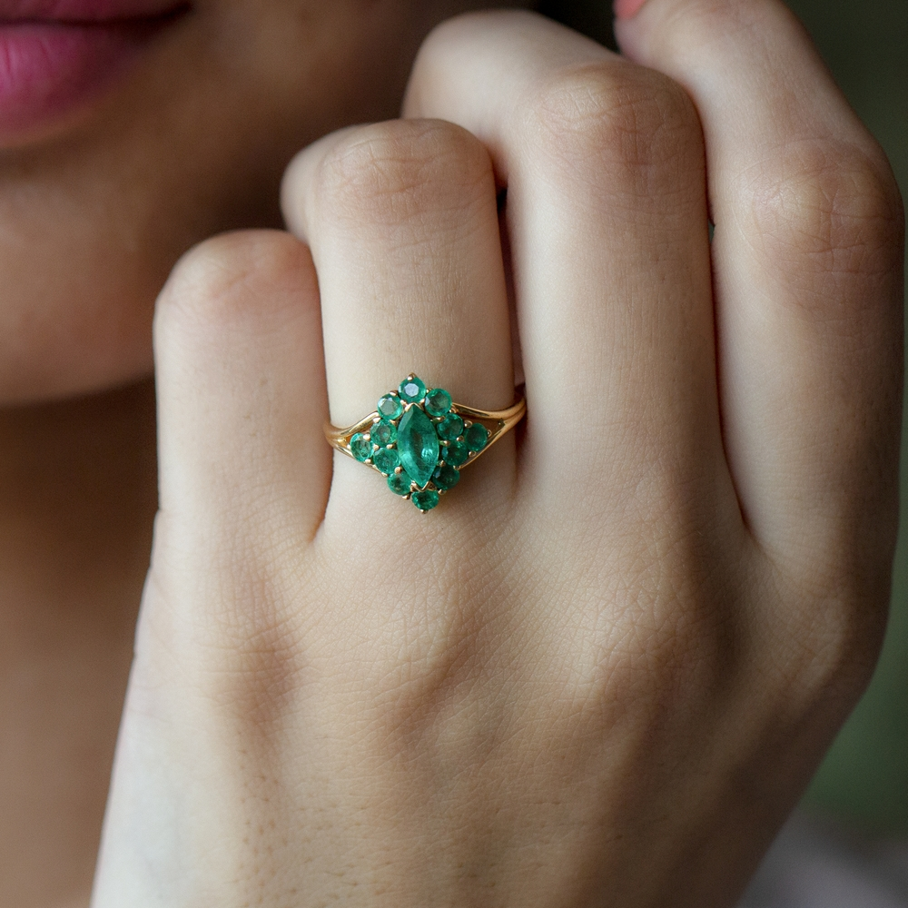 May Birthstone 1.25 CT Marquise and Round Cut Emerald Cocktail Engagement Ring