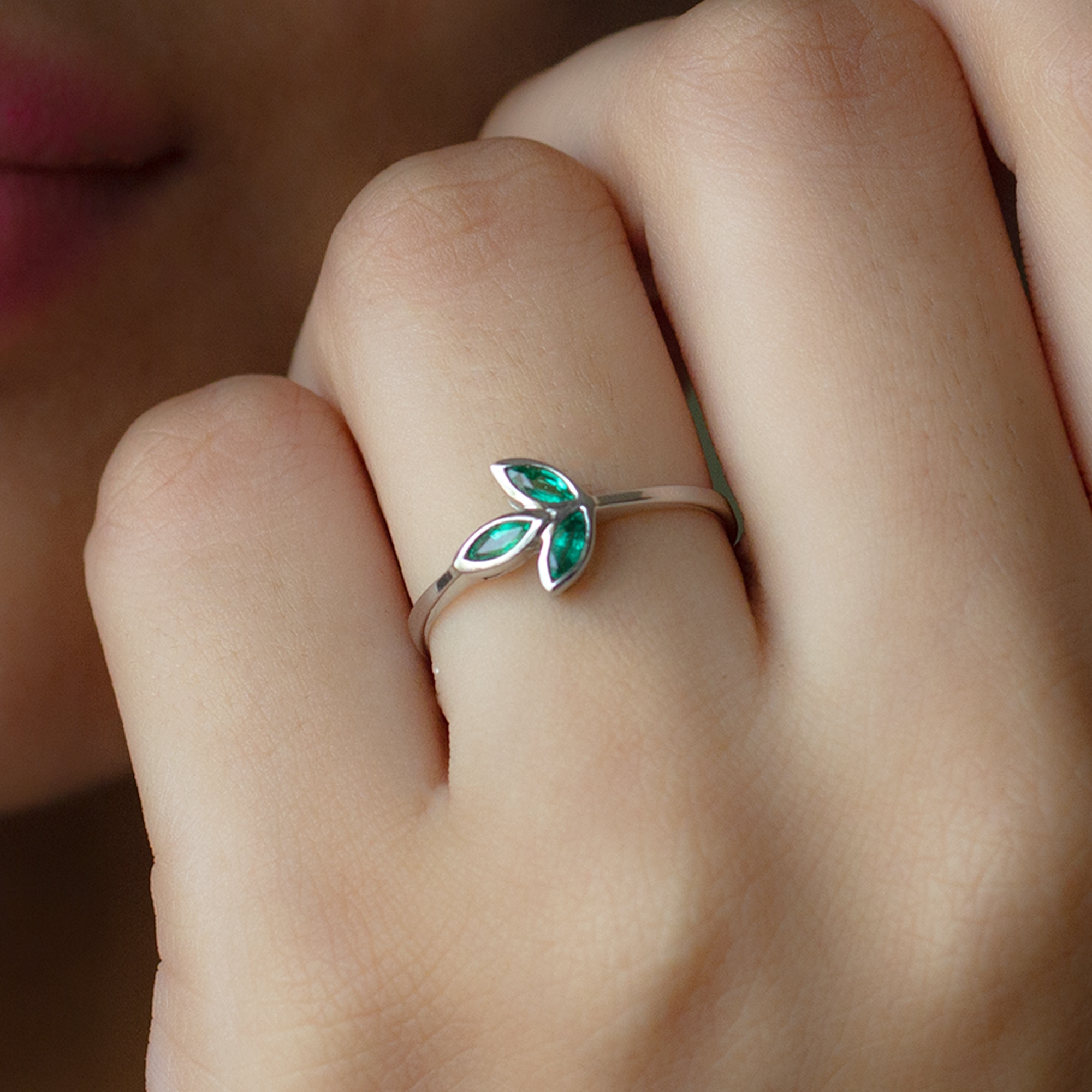 May Birthstone 1/4 CT Marquise Cut Emerald Petal Ring in Bezel Setting