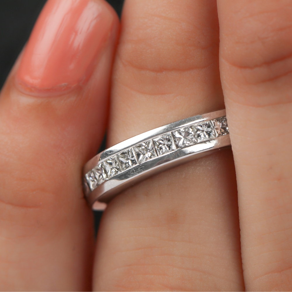 2X2 MM Princess Cut Diamond Unisex Band Ring in Channel Setting For Women