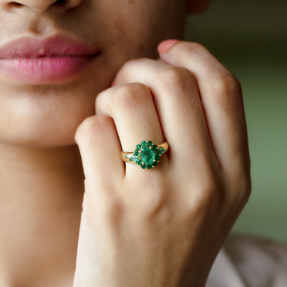 May Birthstone 2.25 CT Oval Cut Emerald Statement Ring with Marquise and Round Accent