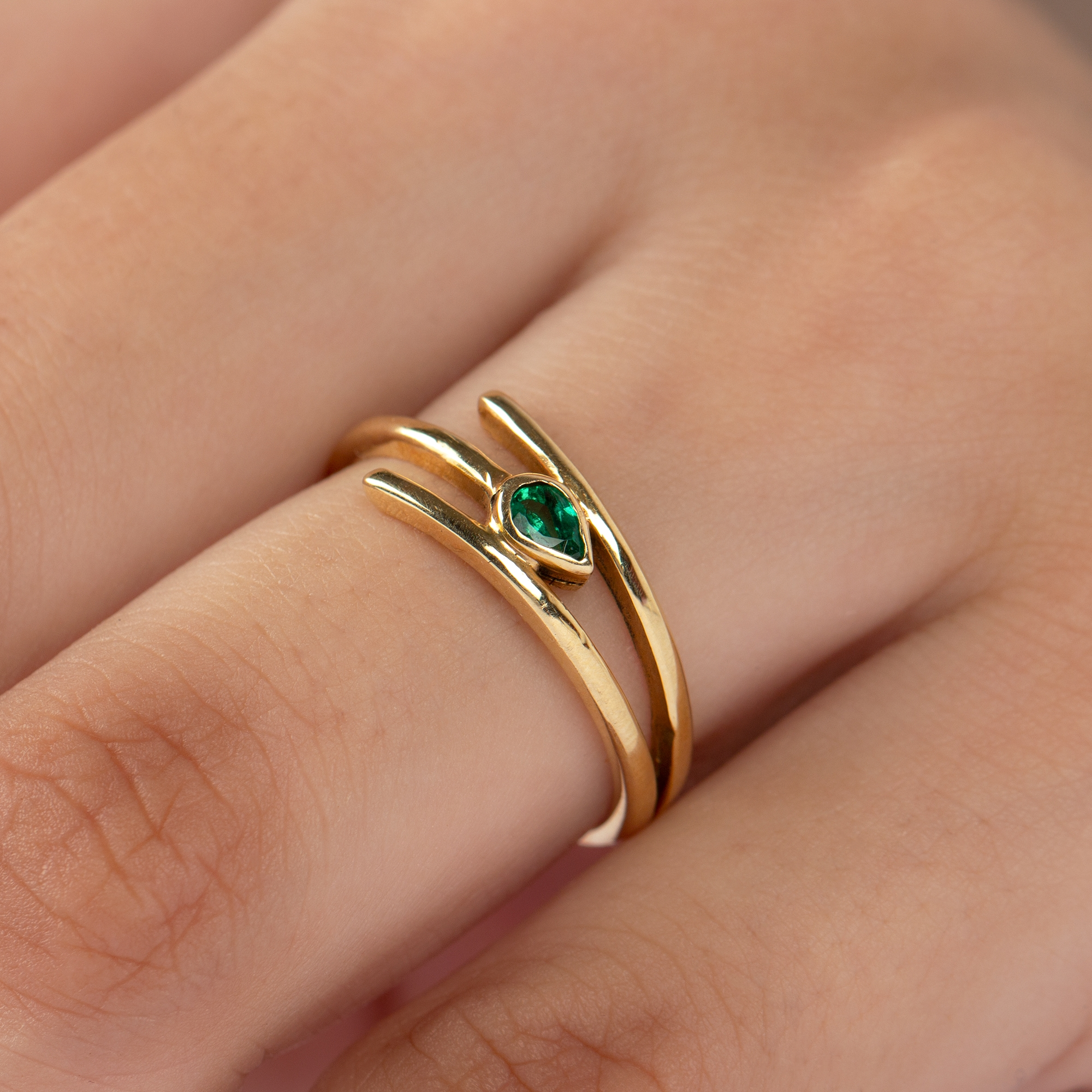 May Birthstone Pear Cut Emerald Solitaire Promise Ring in Bezel Setting
