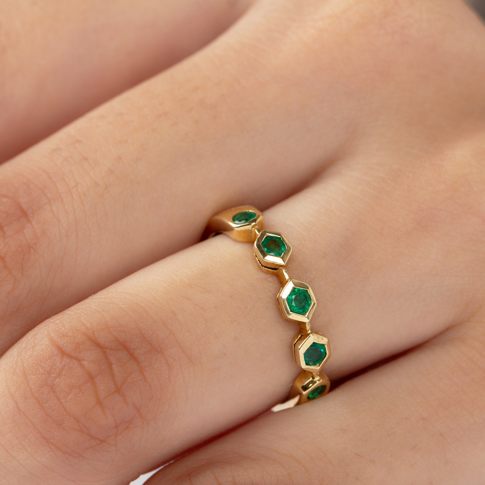 May Birthstone 1/4 CT Emerald Geometric Stackable Band Ring in Bezel Setting