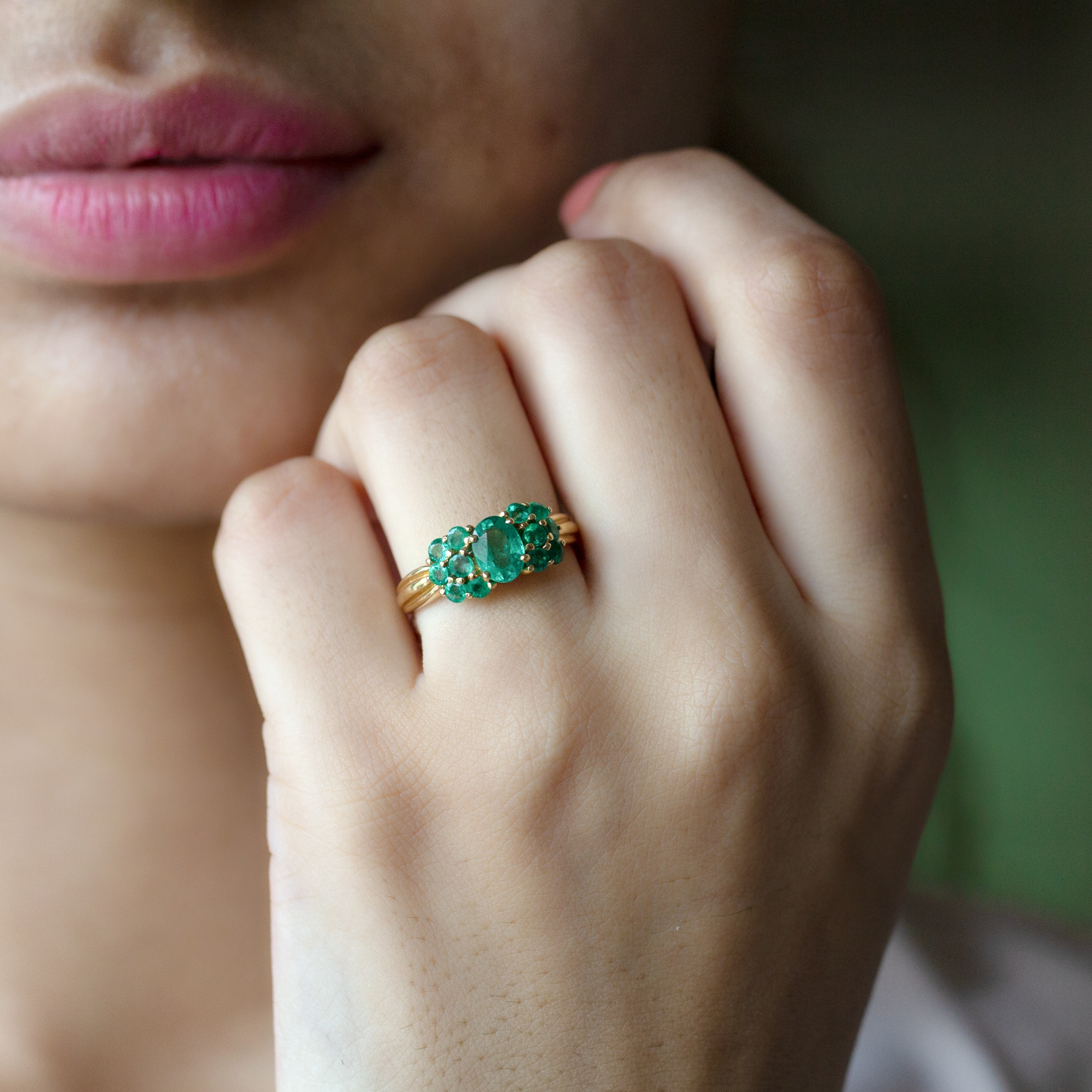 May Birthstone 1.50 CT Oval and Round Cut Emerald Cluster Engagement Ring