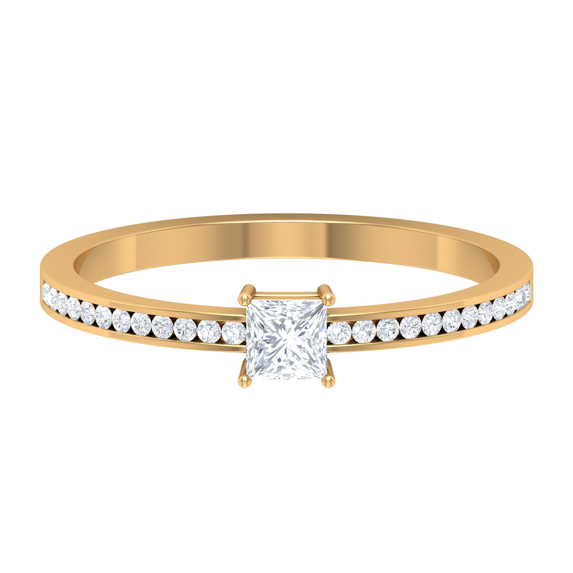 3.3X3.3 MM Princess Cut Solitaire Diamond Ring in 4 Prong Diagonal Setting with Side Stones
