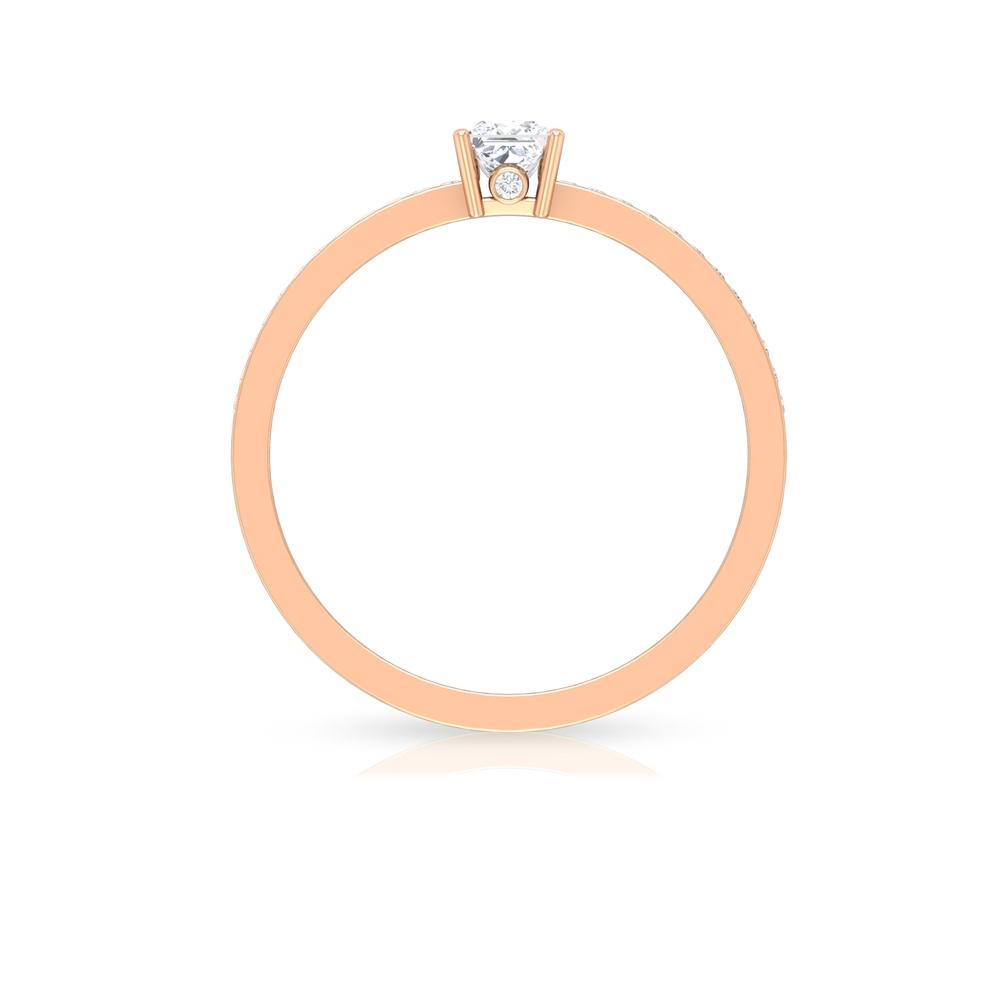 1/2 CT Solitaire and Surprise Diamond Ring with Channel Set Side Stones