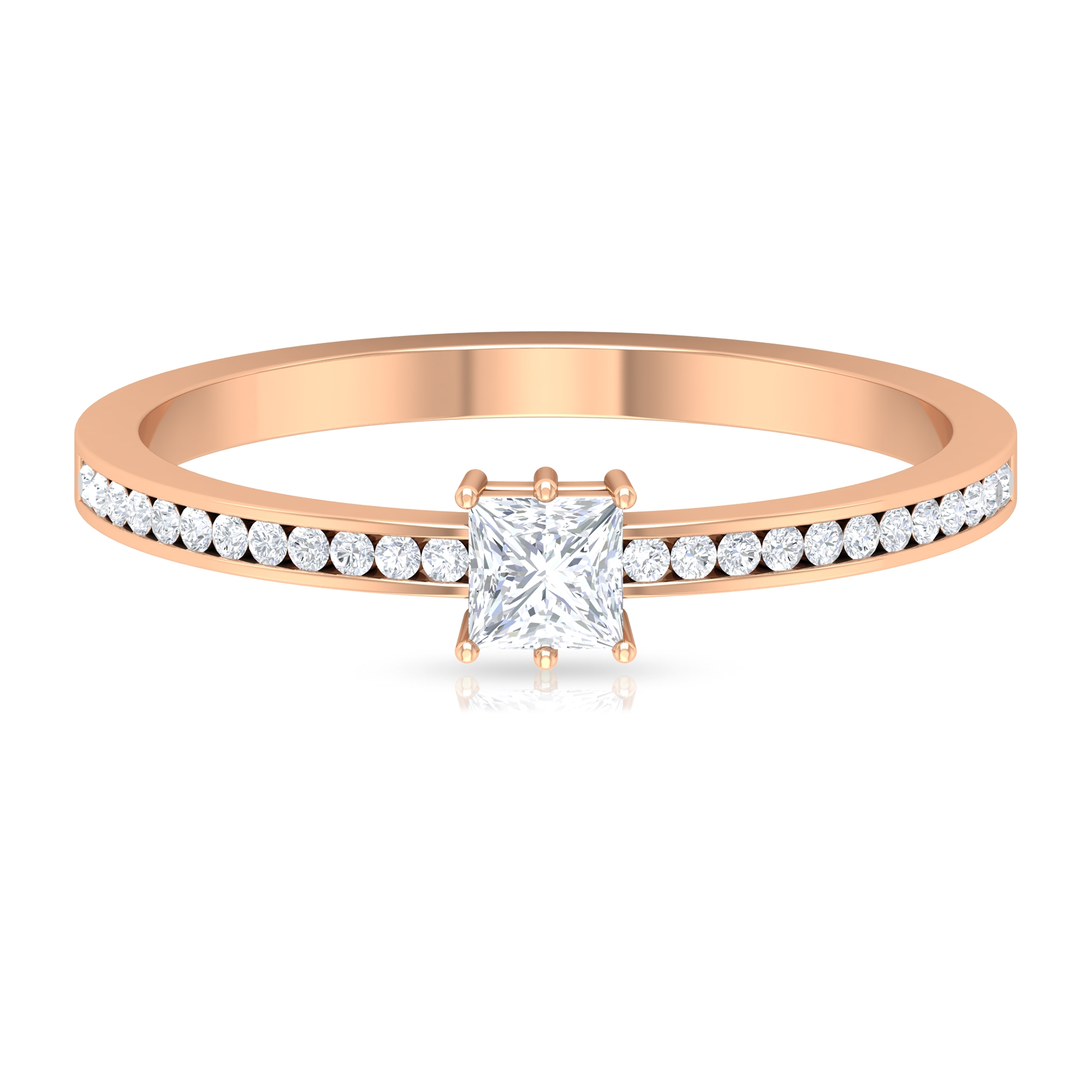 3/4 CT Princess Cut Diamond Solitaire and Side Stones Ring