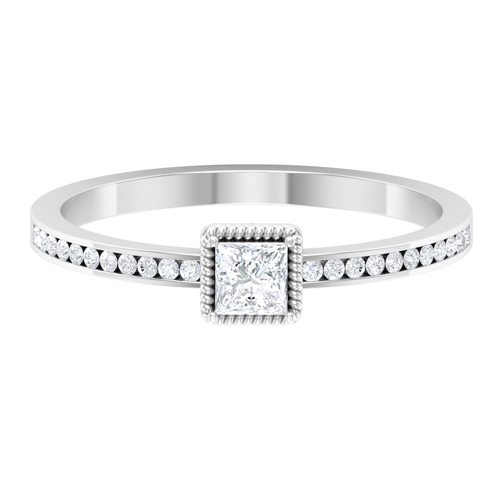 2.25 CT Princess Cut Solitaire Diamond Ring with Rope Frame