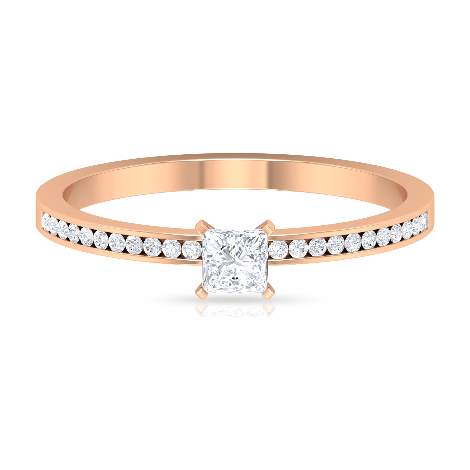 3.30 MM Princess Cut Solitaire Diamond Ring in French Setting with Side Stones