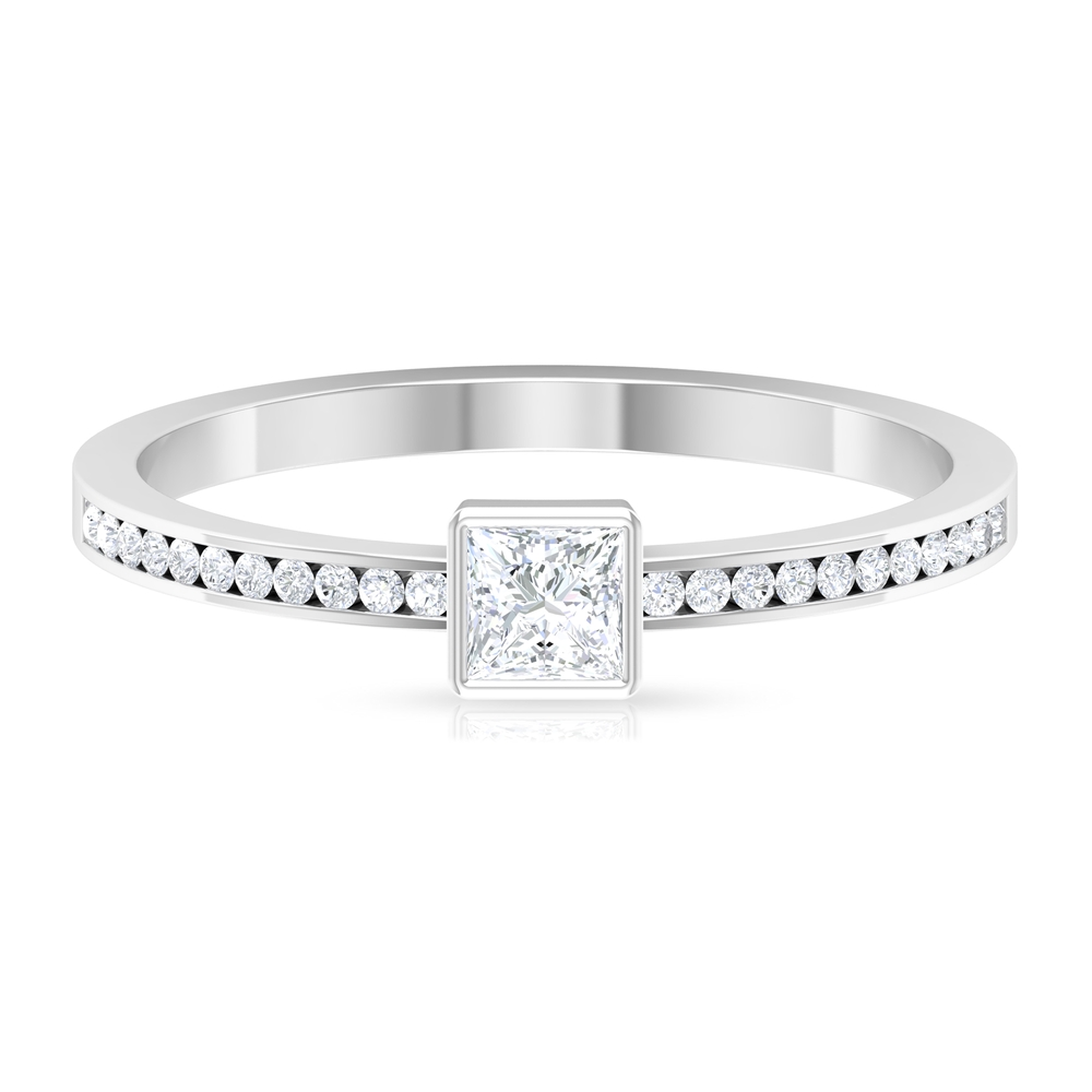 3.30 MM Princess Cut Solitaire Diamond Ring in Bezel Setting with Side Stones
