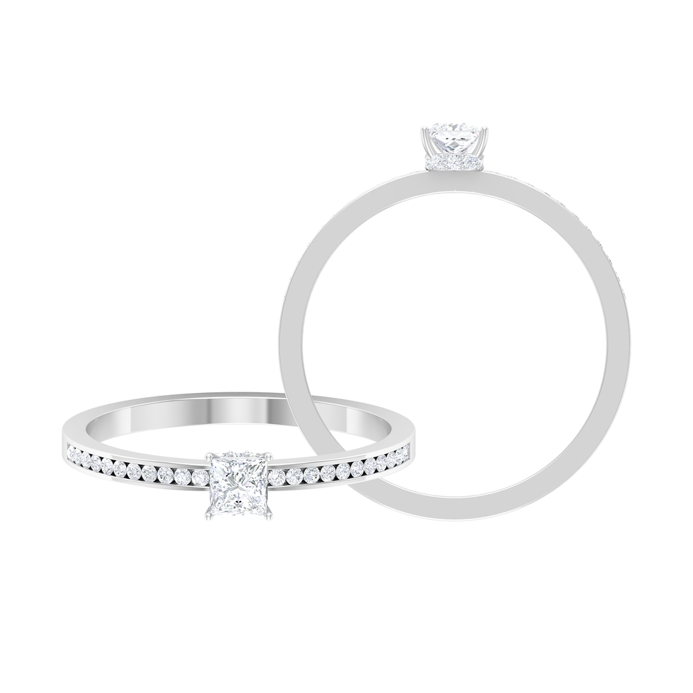 1/2 CT Solitaire Diamond Ring with Hidden Halo and Channel Set Side Stones