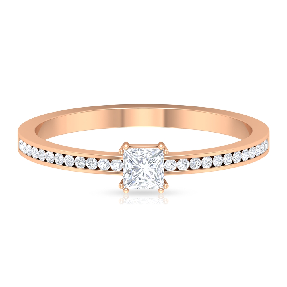 3.3X3.3 MM Princess Cut Diamond Solitaire Ring in Double Prong Setting with Side Stones
