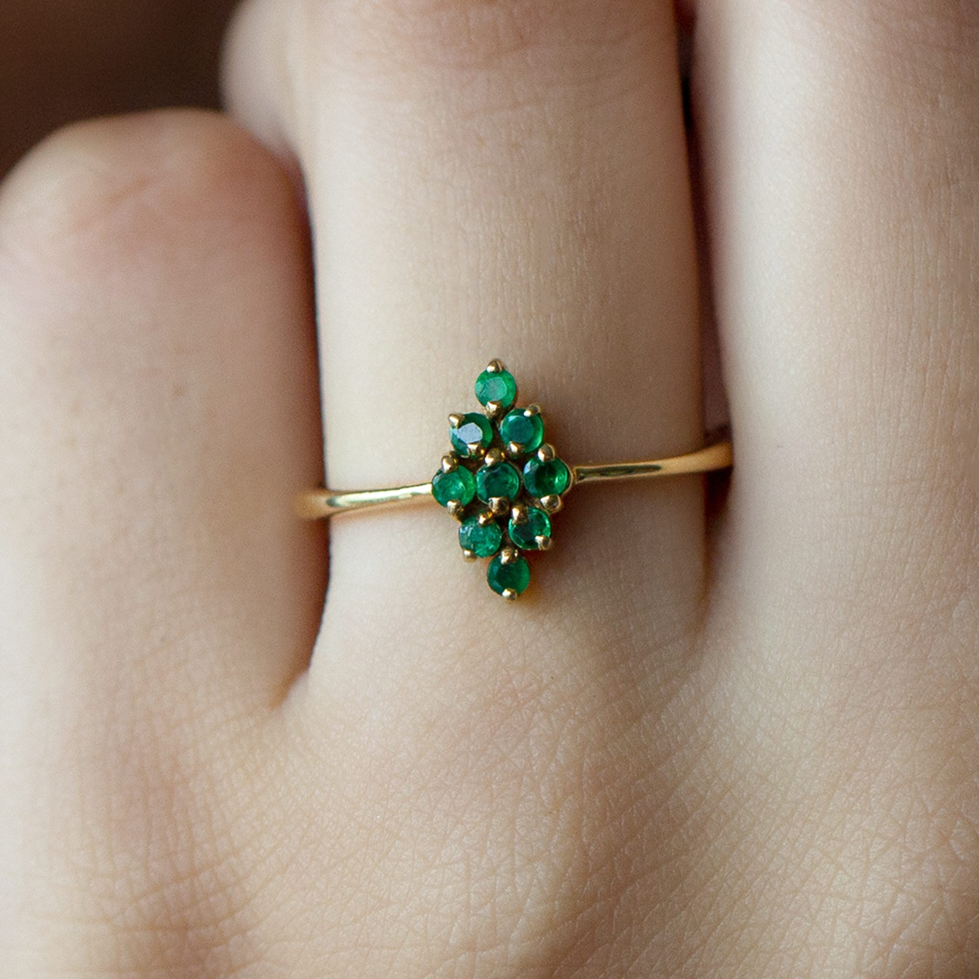 May Birthstone 1/4 CT Emerald Cluster Ring for Women