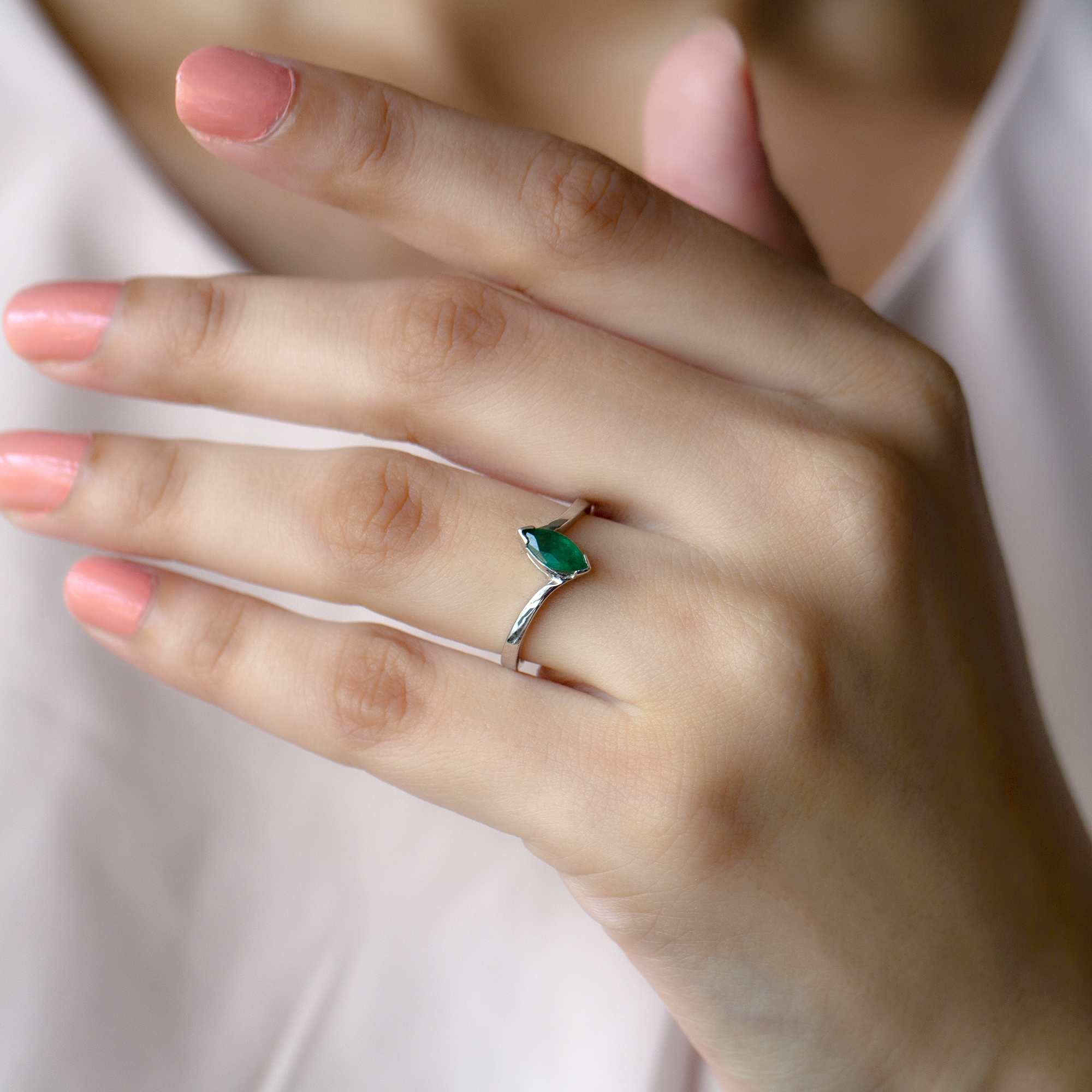 1/2 CT Marquise Shape Solitaire Emerald Bypass Ring in V Prong Setting