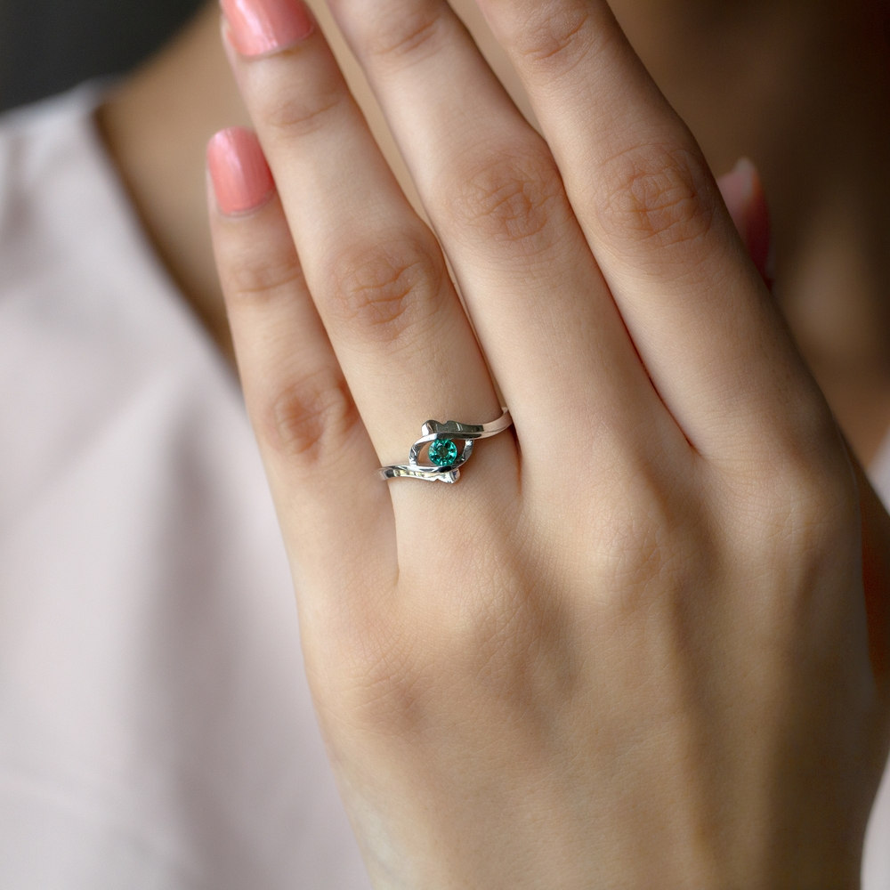 May Birthstone Emerald Solitaire Ring for Women in Tension Mount Setting