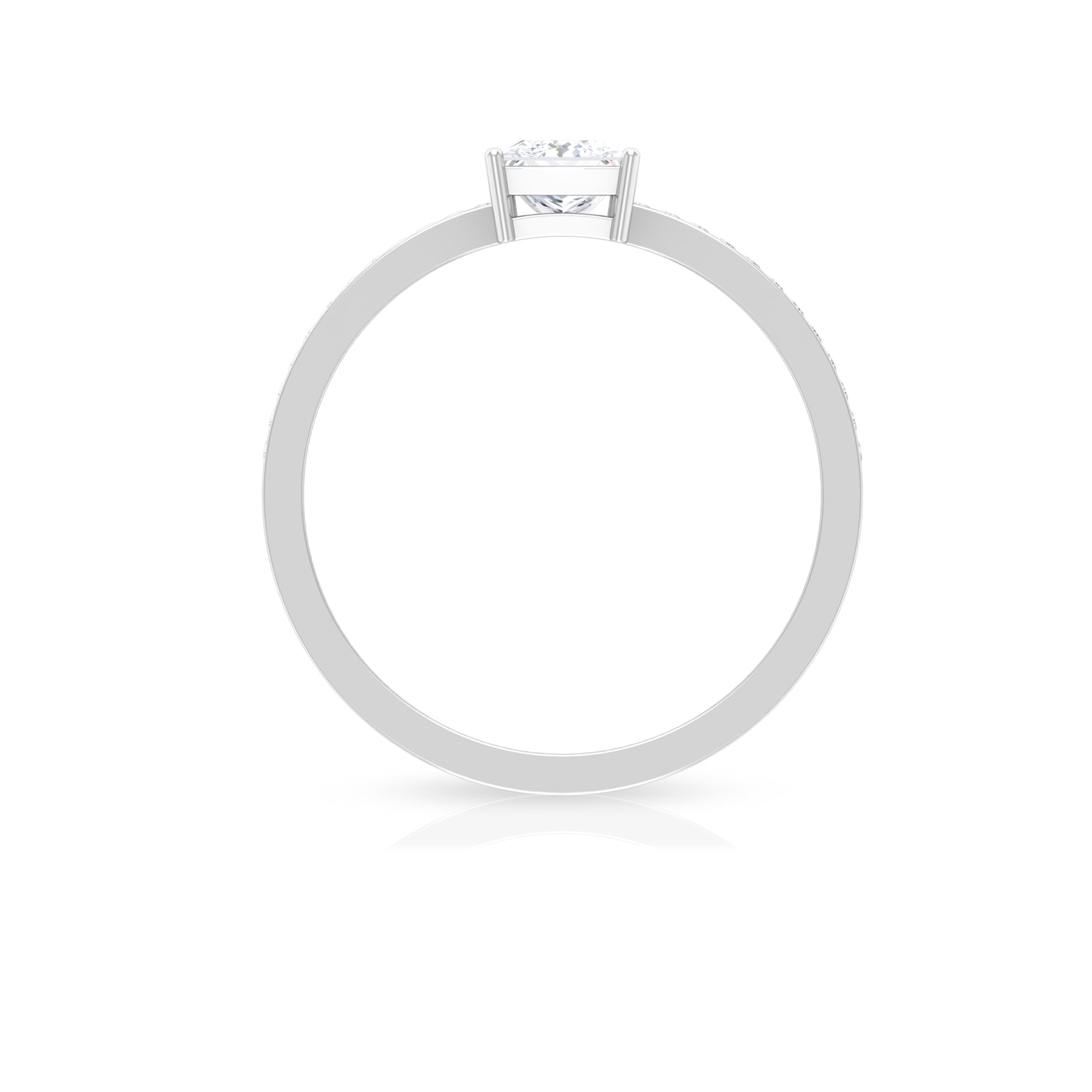 4.5X4.5 MM Princess Cut Diamond Solitaire Ring in 4 Prong Setting with Side Stones