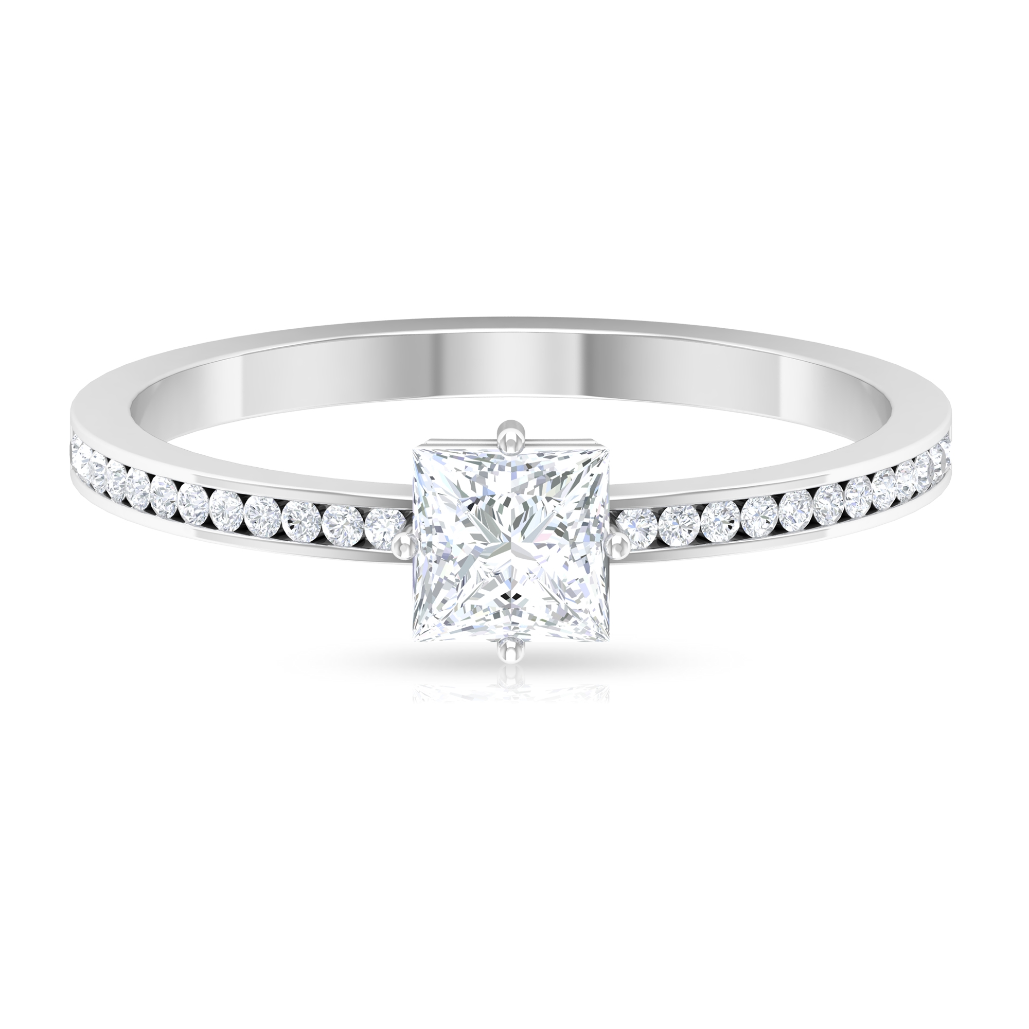 3/4 CT Four Prong Diagonal Set Solitaire Diamond Ring with Channel Set Side Stones