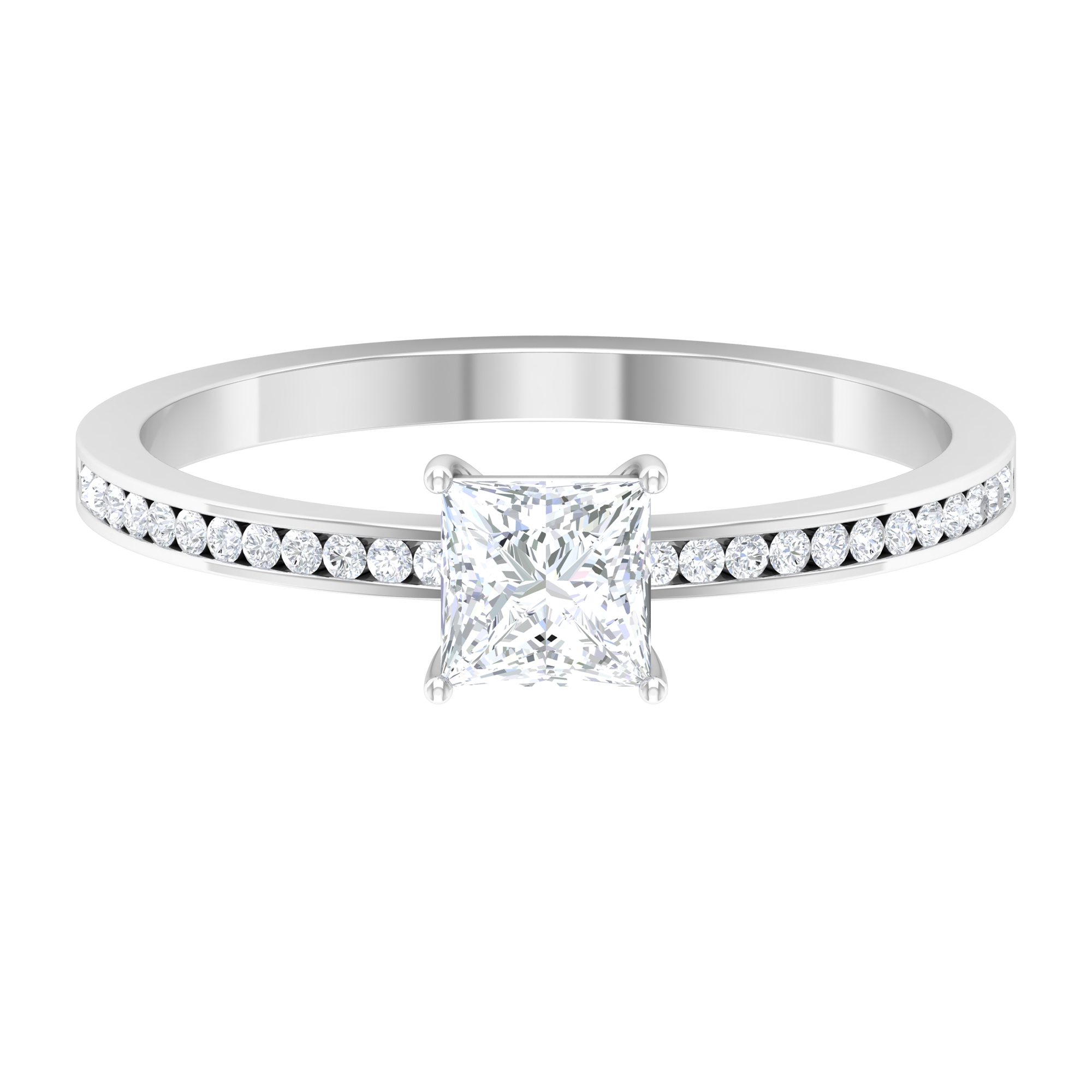 3/4 CT Four Prong Set Solitaire Diamond Ring with Channel Set Side Stones