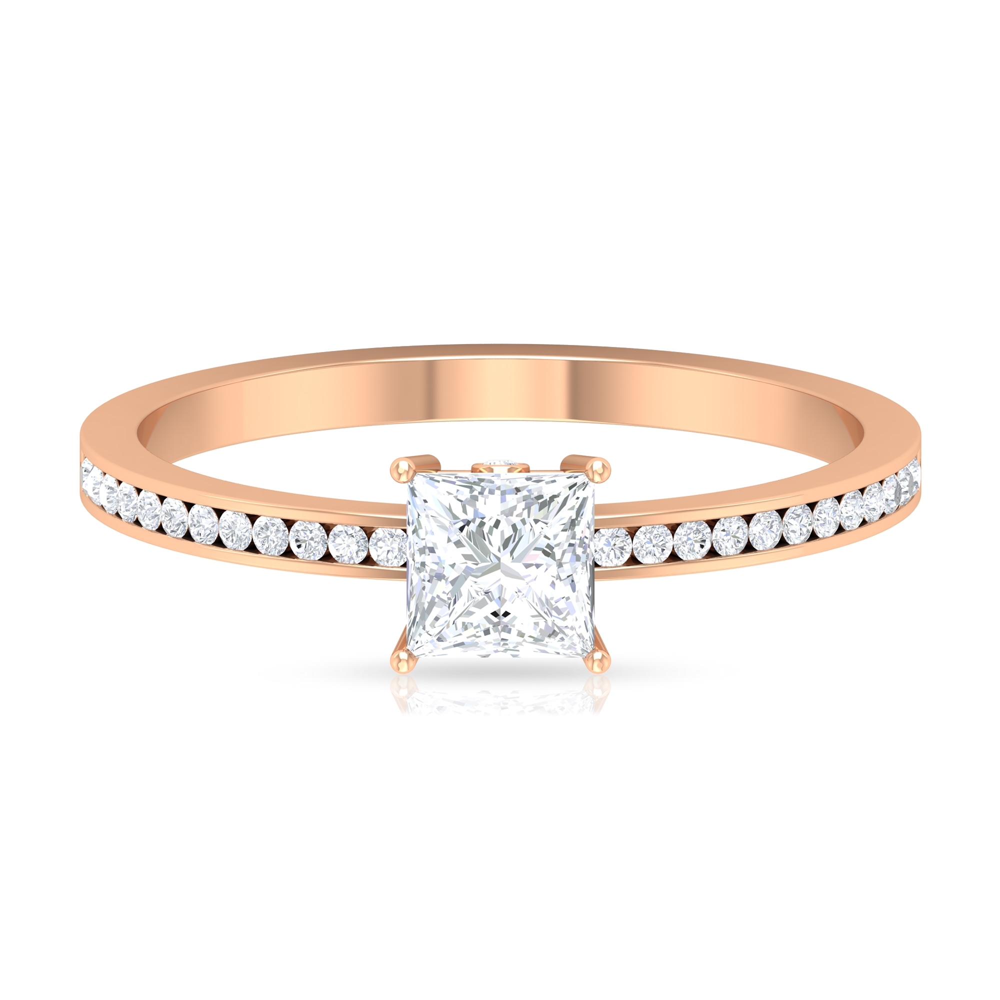 3/4 CT Solitaire and Surprise Diamond Ring with Channel Set Side Stones