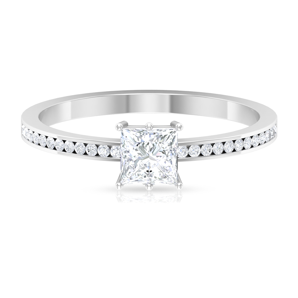 3/4 CT Six Prong Set Solitaire Diamond Ring with Channel Set Side Stones