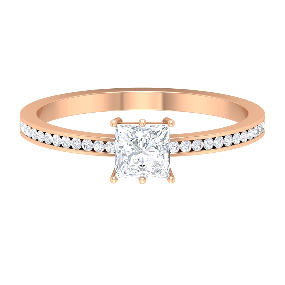 3/4 CT Bar Set Solitaire Diamond Ring with Channel Set Side Stones