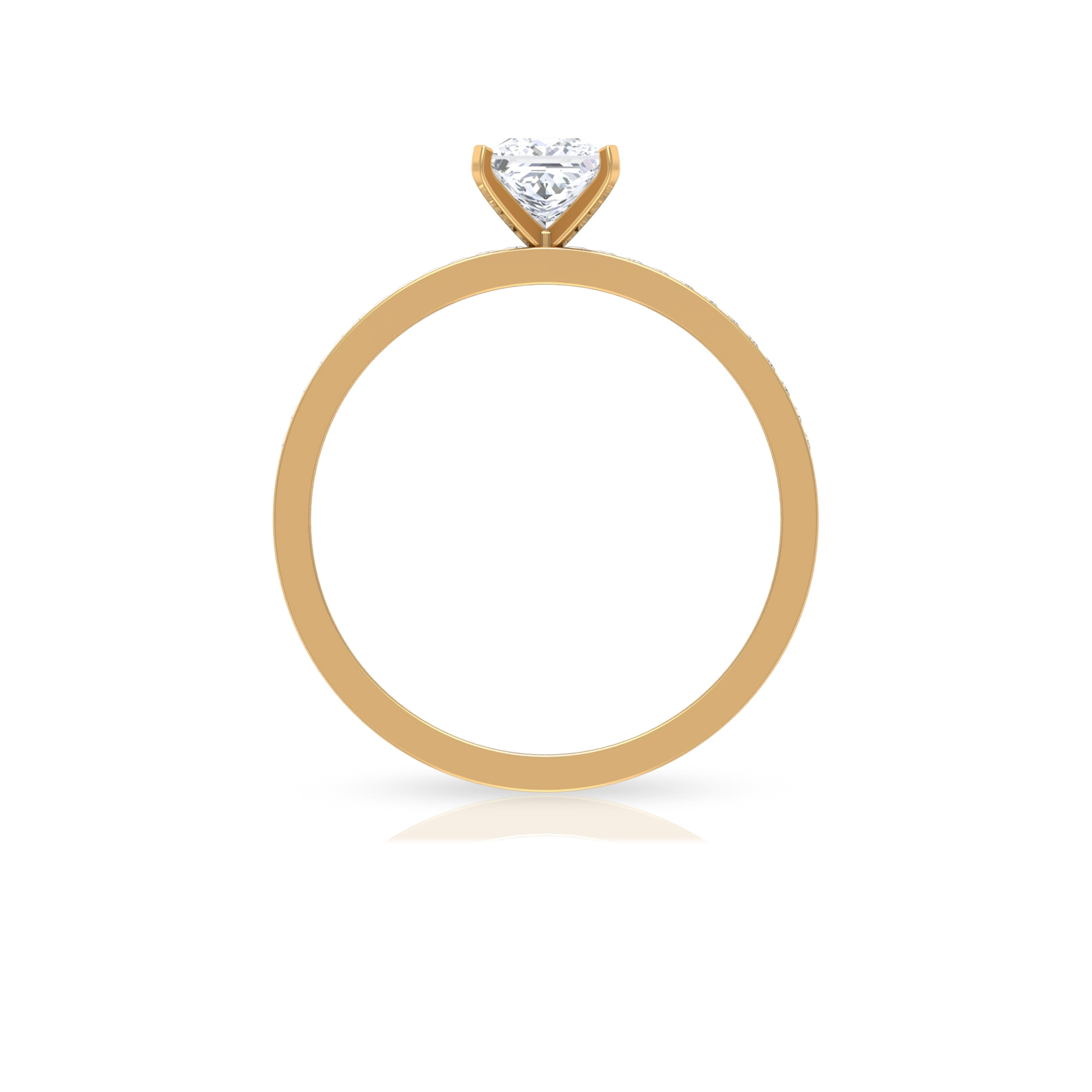 Square Prong Set 4.5 MM Princess Cut Diamond Solitaire Ring with Channel Set Side Stones