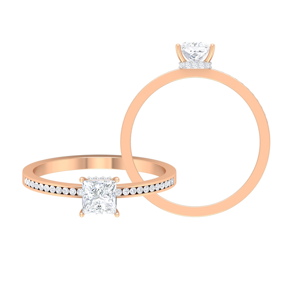 4.5 MM Princess Cut Diamond Solitaire Ring with Channel Set Side Stones and Hidden Halo Style