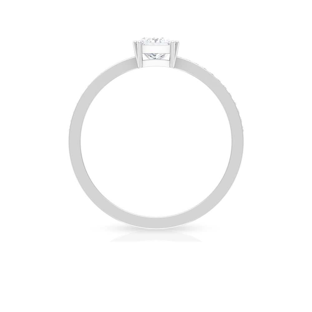 Double Prong Set 4.5 MM Princess Cut Diamond Solitaire Ring with Channel Set Side Stones
