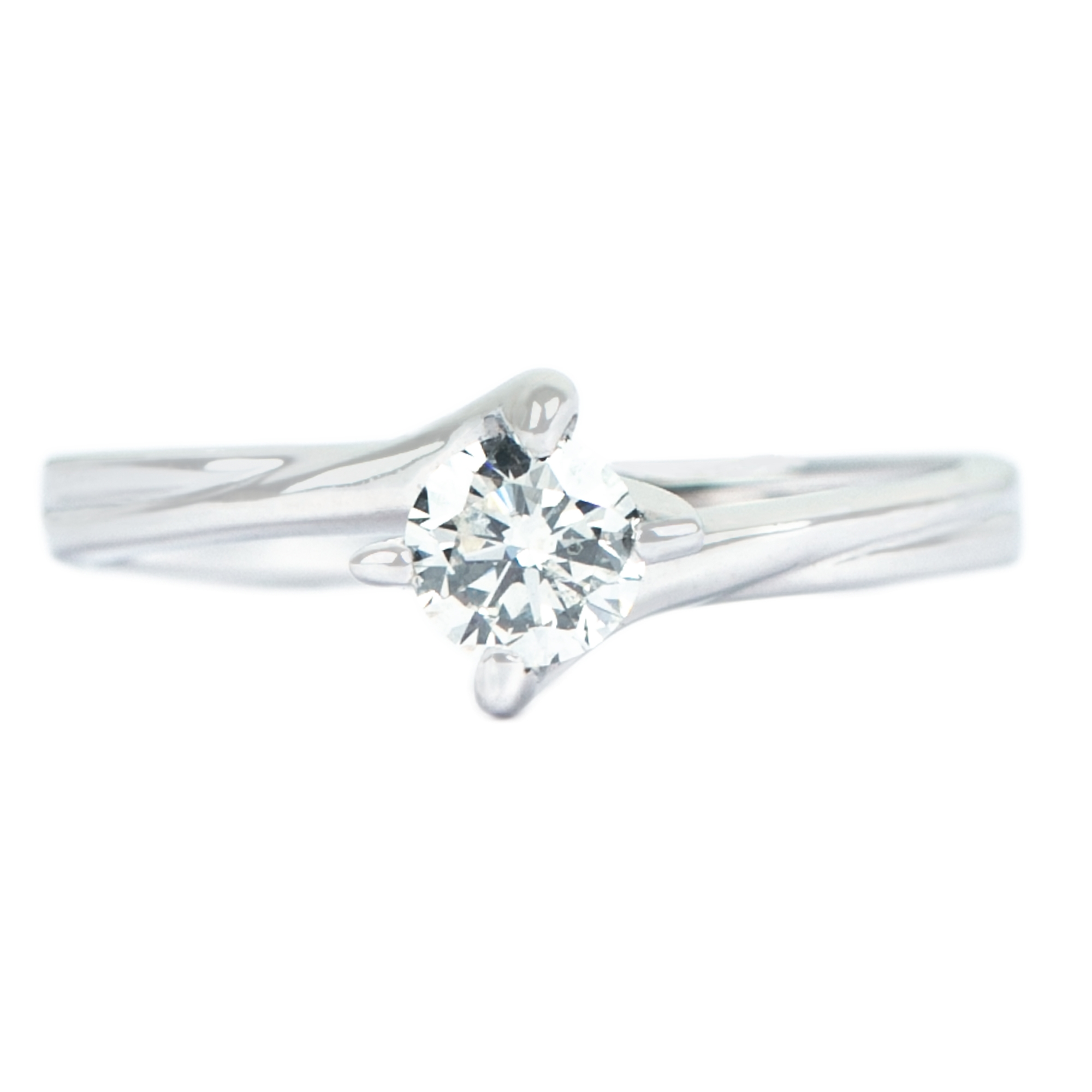 4.50X4.50 MM Round Shape Solitaire Diamond Bypass Engagement Ring in 4 Prong Diagonal Setting