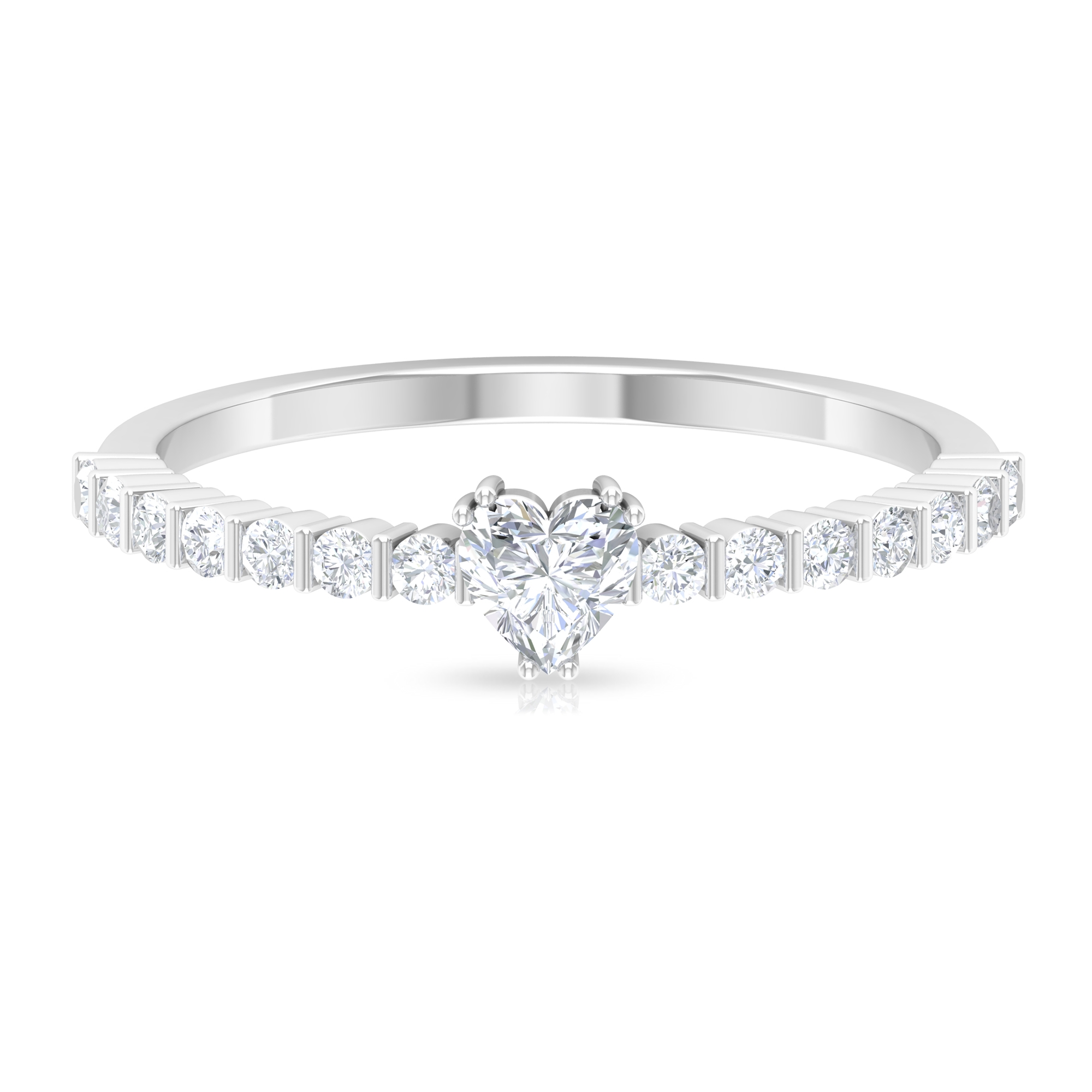 1/2 CT Diamond Solitaire Ring in Double Prong Setting with Side Stones