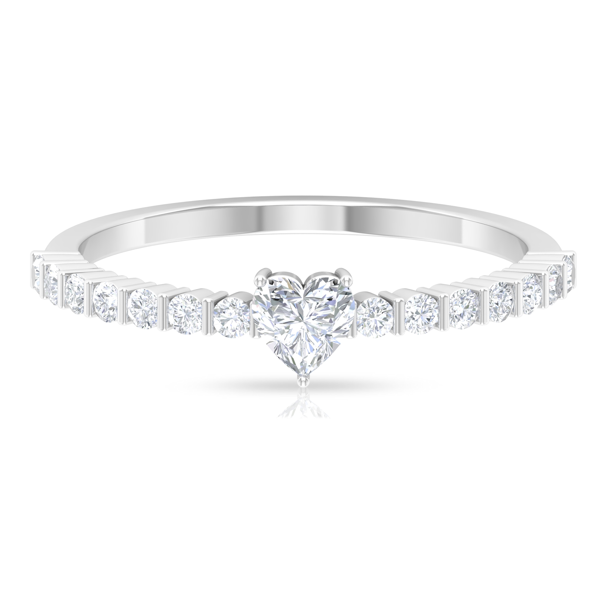 1/2 CT Heart Shape Diamond Solitaire Ring in 3 Prong Setting with Bar Set Diamond