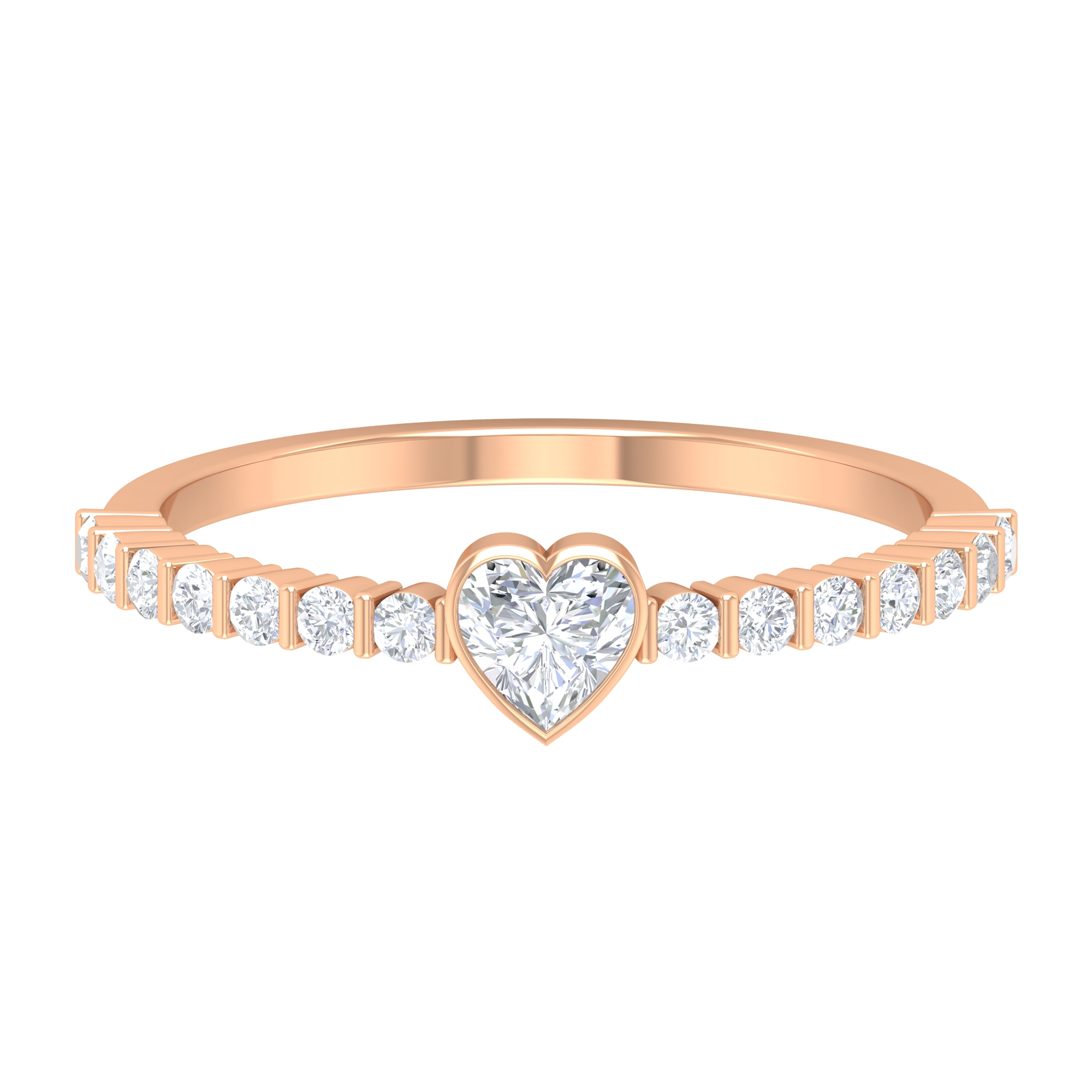 1/2 CT Heart Shape Diamond Solitaire Ring in Bezel Setting with Side Stones