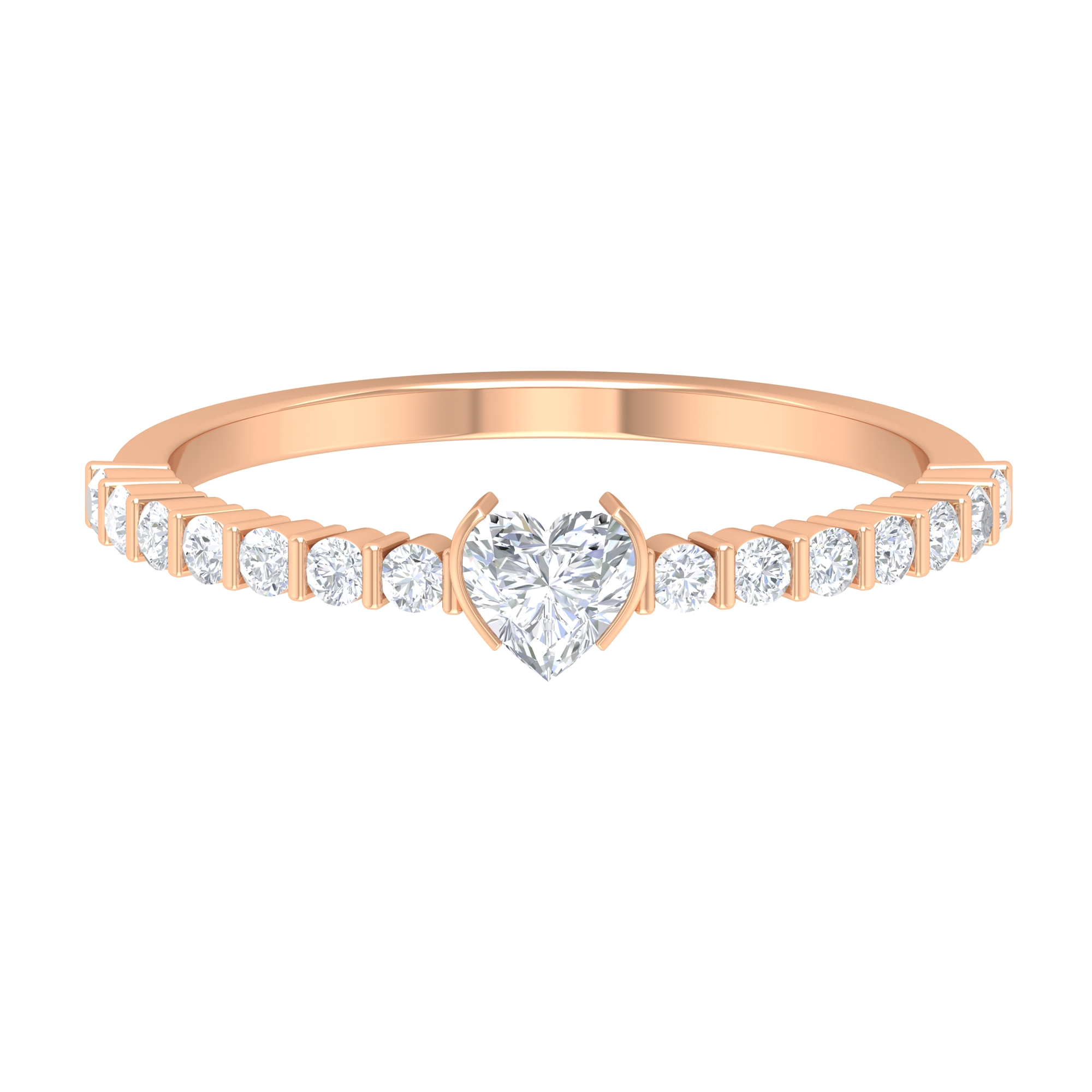 4X4 MM Heart Shape Solitaire Diamond Ring in Bar Setting with Side Stones